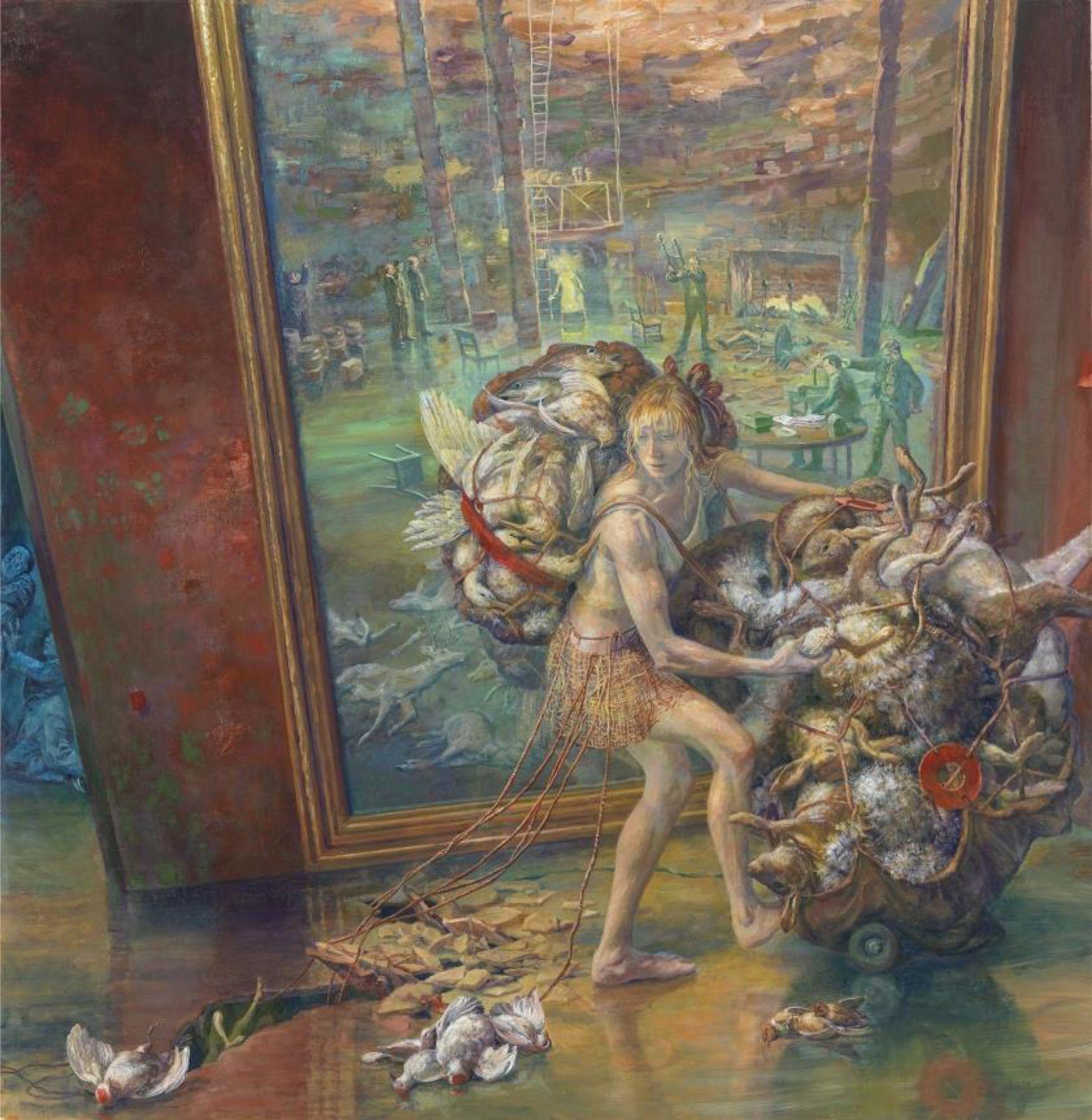 Julie Heffernan, Self Portrait with Cargo, 2014, oil on canvas, 68 x 66 inches