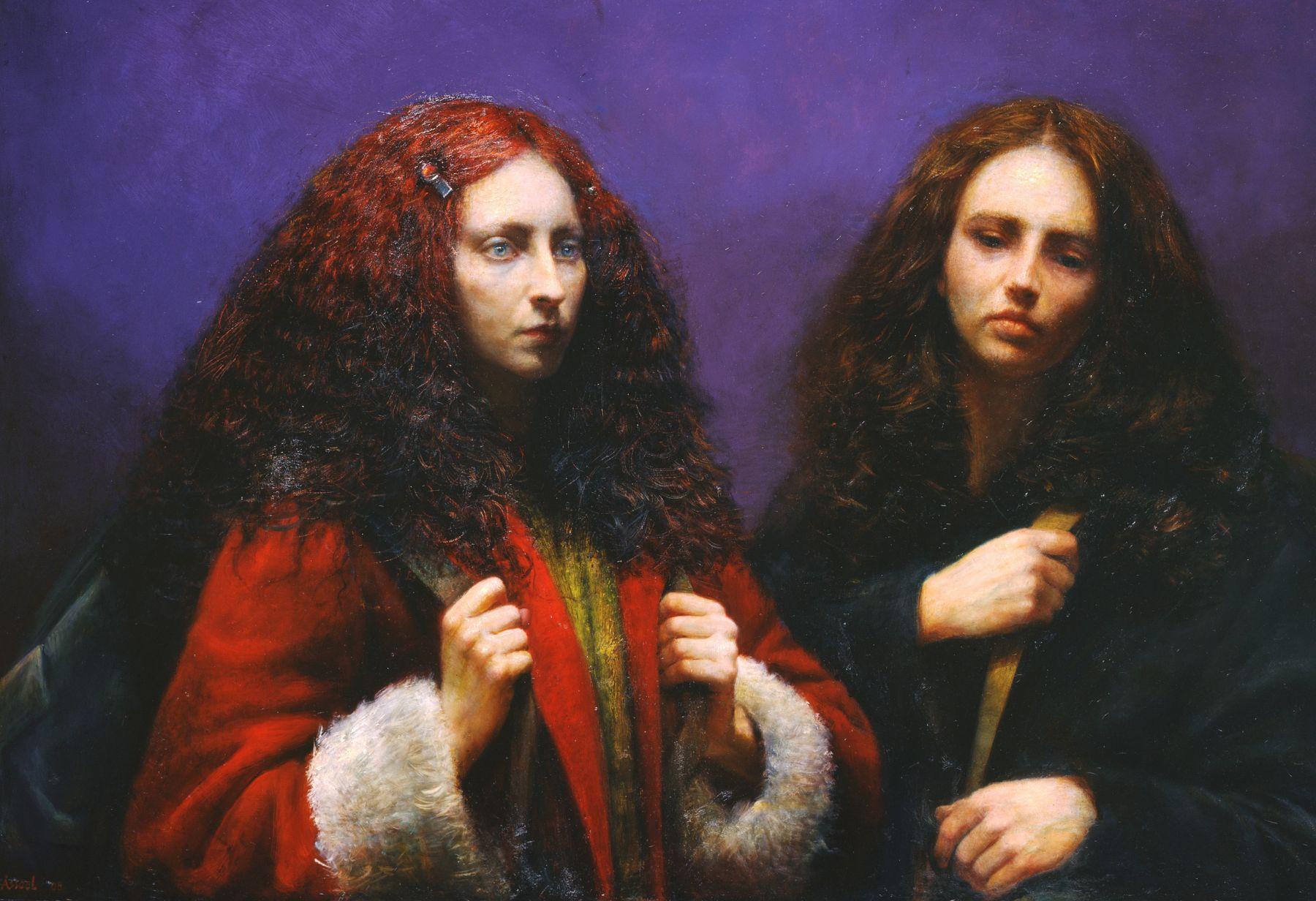 Steven Assael, Cassandra & Julie (SOLD), 2008, oil on board, 33 1/2 x 48 1/4 inches