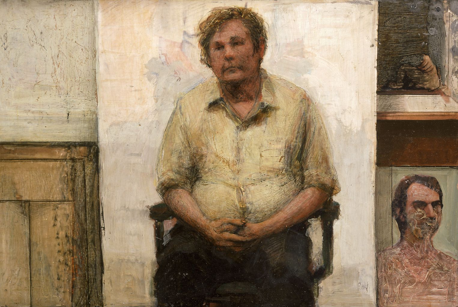 gregory gillespie,  Bill (in studio), 1984, oil on panel, 13 x 18 1/2 inches
