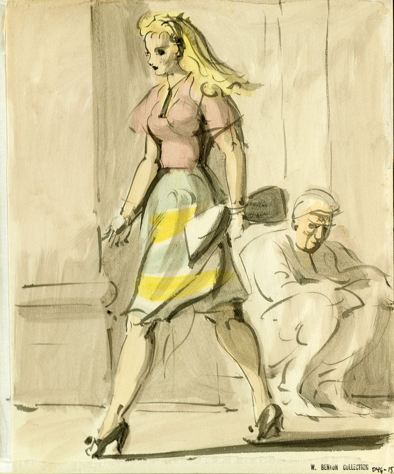 Reginald Marsh, Blonde with Green and Yellow Skirt, c. 1946, watercolor on paper, 10 x 8 inches