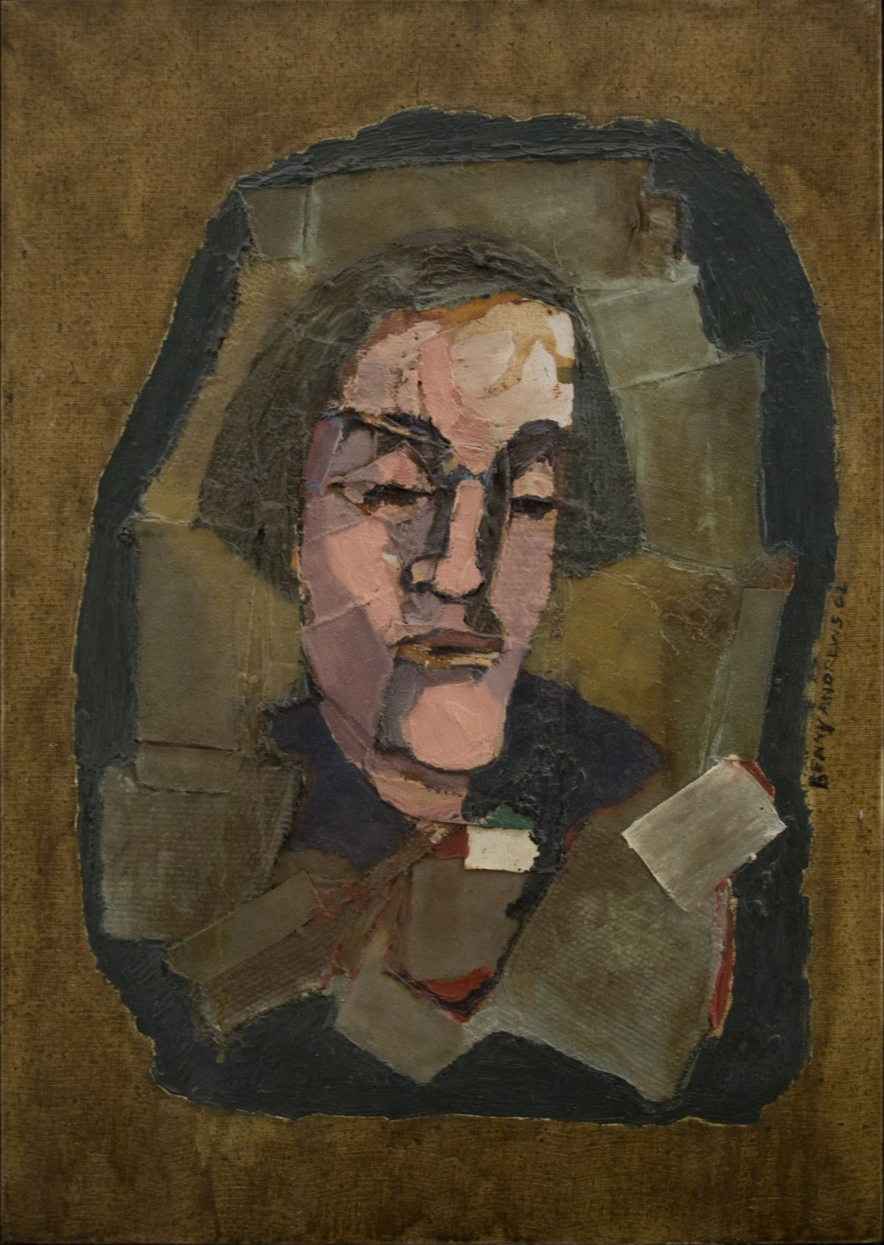 Benny Andrews, Poet, 1962, oil and collage on canvas, 25 x 17 1/2 inches