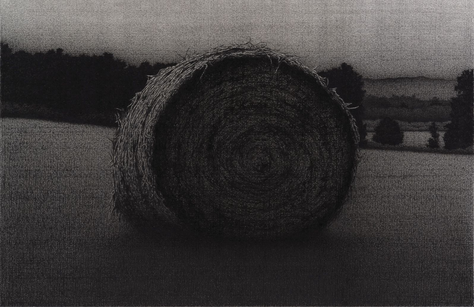 anthony mitri, Hay Bale, Bundysburg, 2012, charcoal on paper, 24 x 17 inches