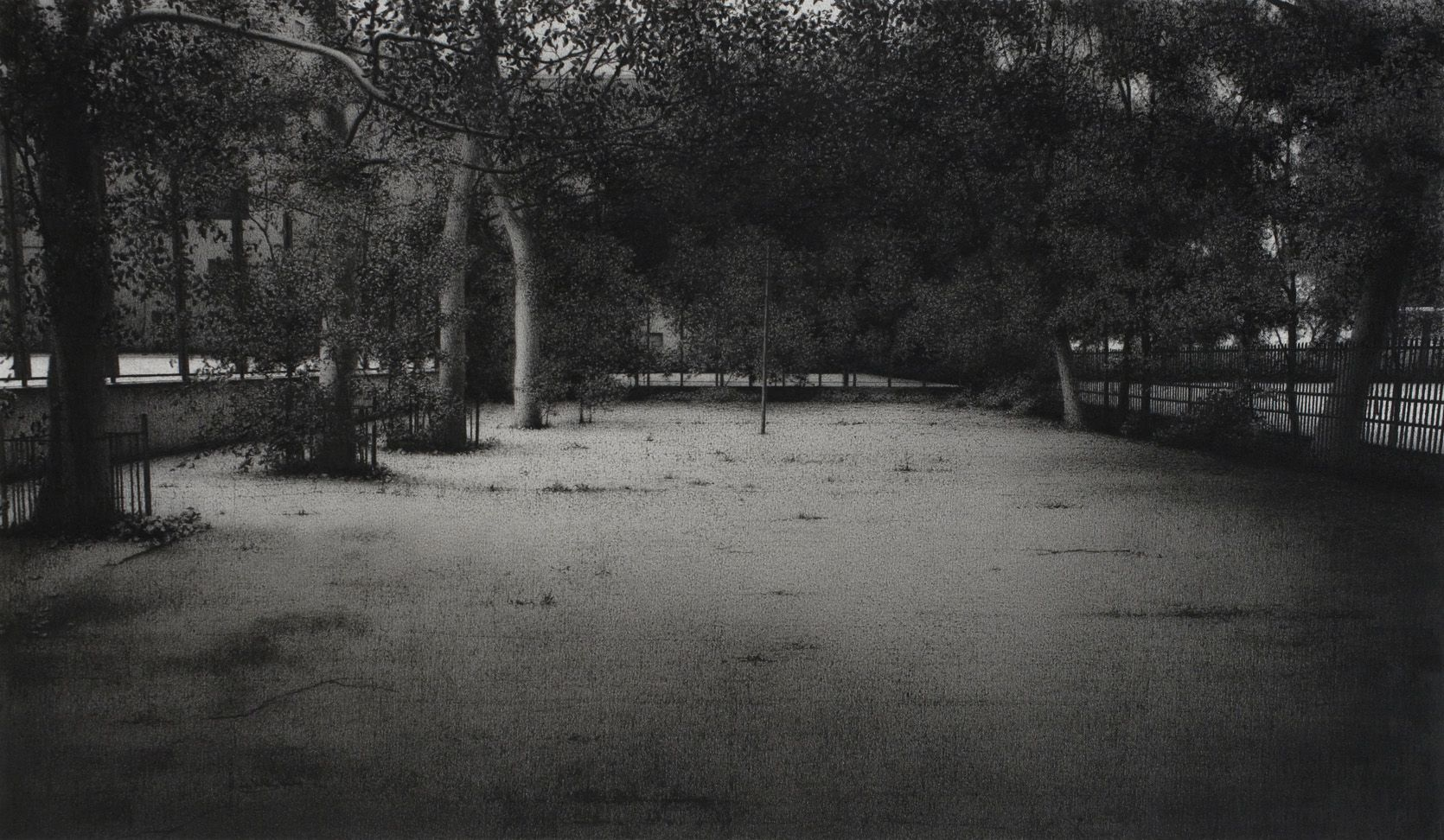 anthony mitri, Space in the Lower East Side, Manhattan, 2007, charcoal on paper, 15 x 25 3/4 inches