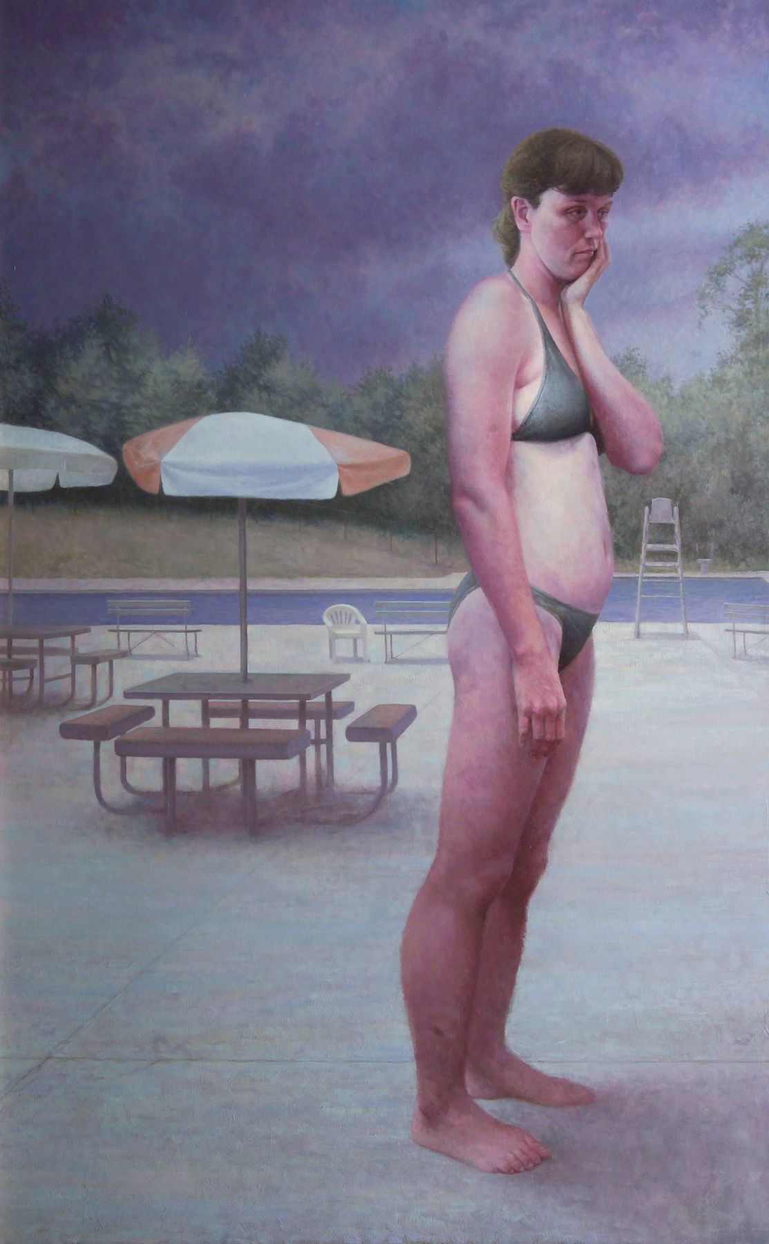 michele fenniak, Morning Swim, 2005, oil on panel, 48 x 30 inches