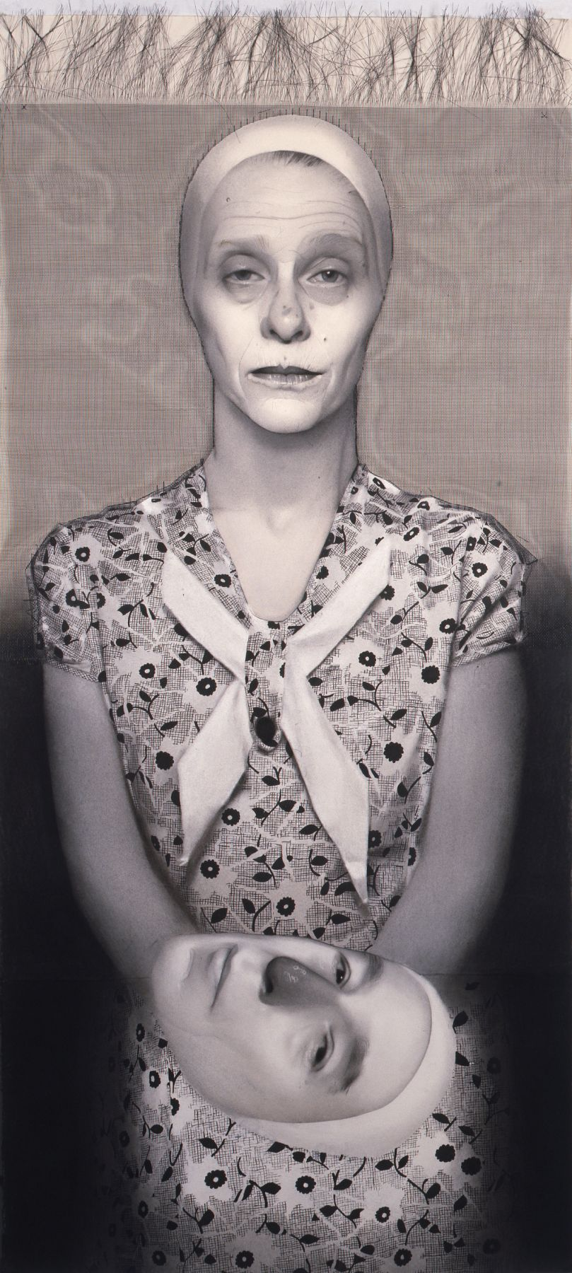 Susan Hauptman, Self Portrait (with wire mesh), 2007, charcoal, ink and wire mesh on paper, 58 x 26 inches