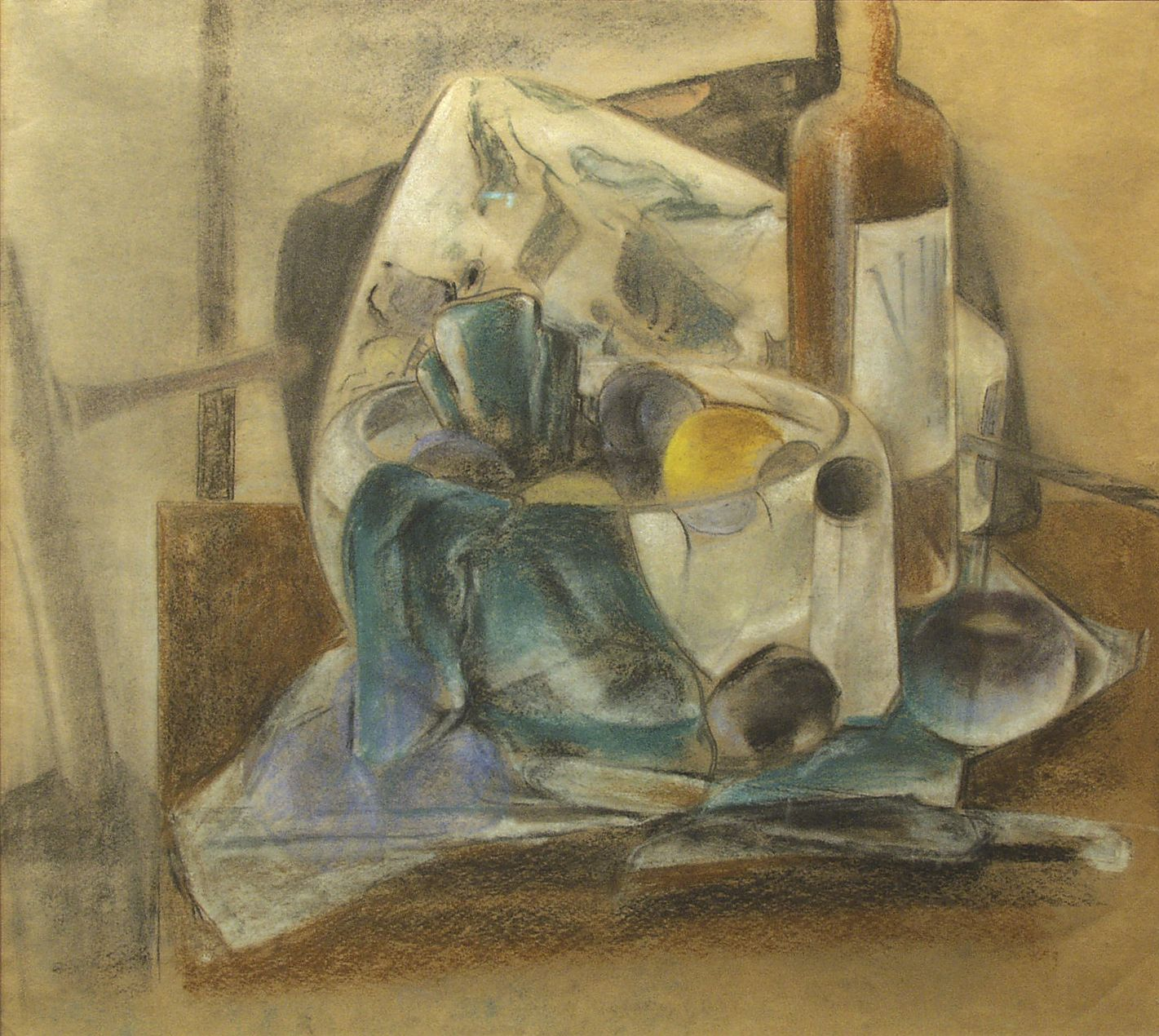 preston dickinson, Still Life, Fruit and Wine, 1926-27, pastel and chalk on paper, 18 x 20 inches