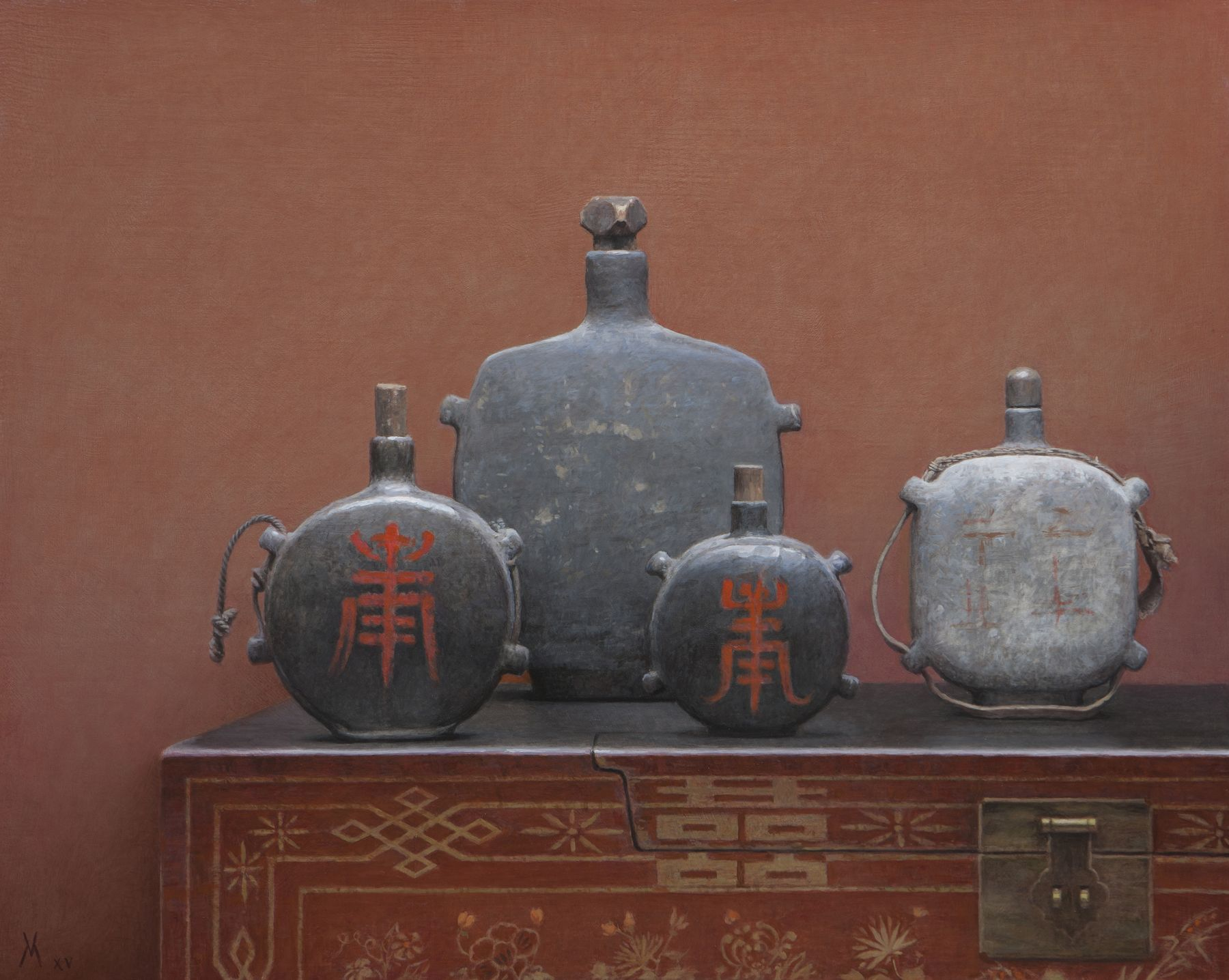 guillermo munoz vera, Chinese Canteens III, 2015, oil on canvas mounted on panel, 31 1/2 x 39 3/8 inches