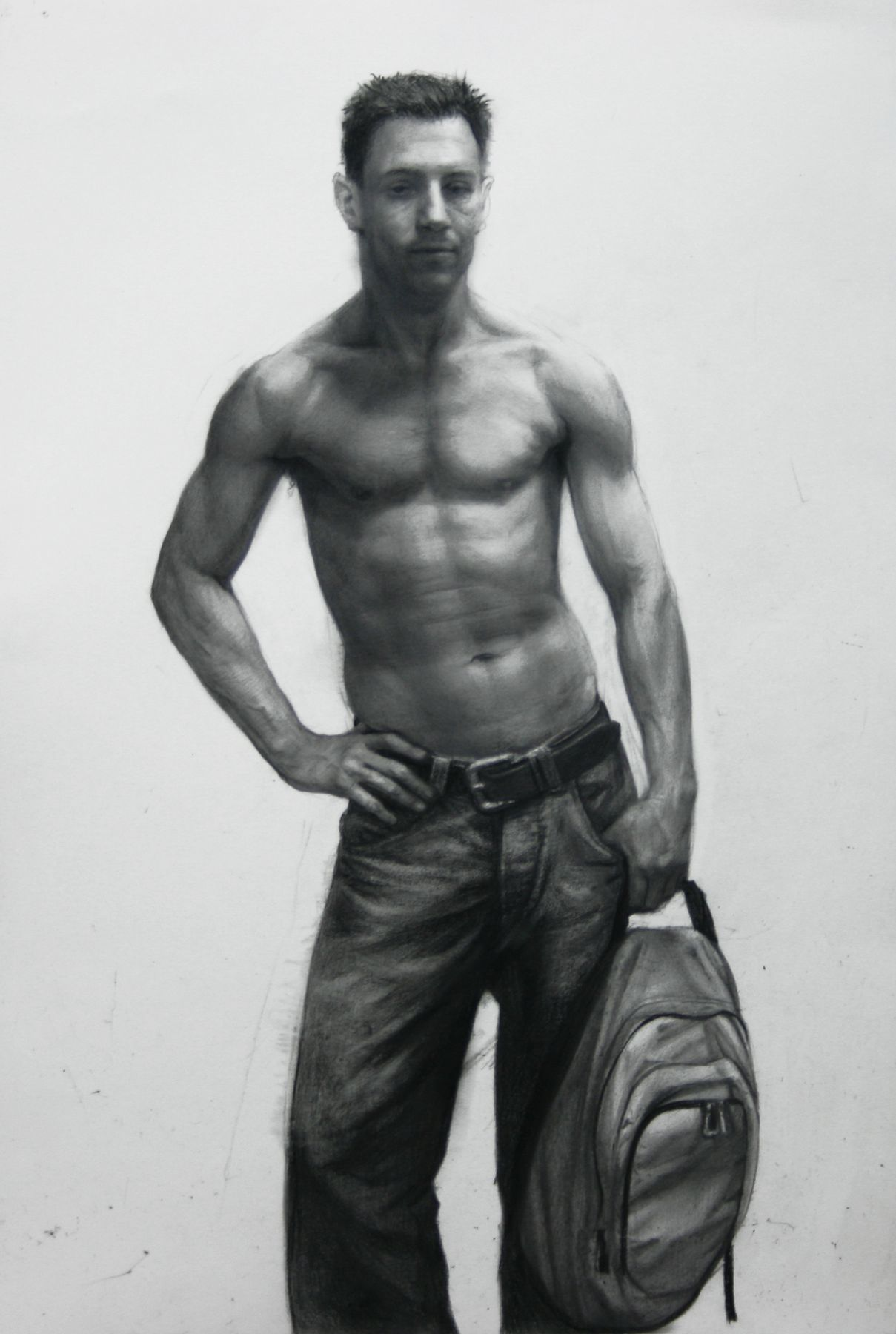 Steven Assael, Michael Holding a Backpack (SOLD), 2008, crayon and graphite on paper, 15 x 10 1/4 inches