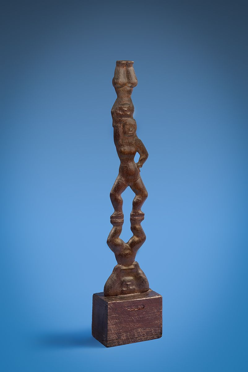 Chaim Gross, Three Acrobats, 1928, walnut, 26 3/4 h x 6 w x 3 ½ d inches at base