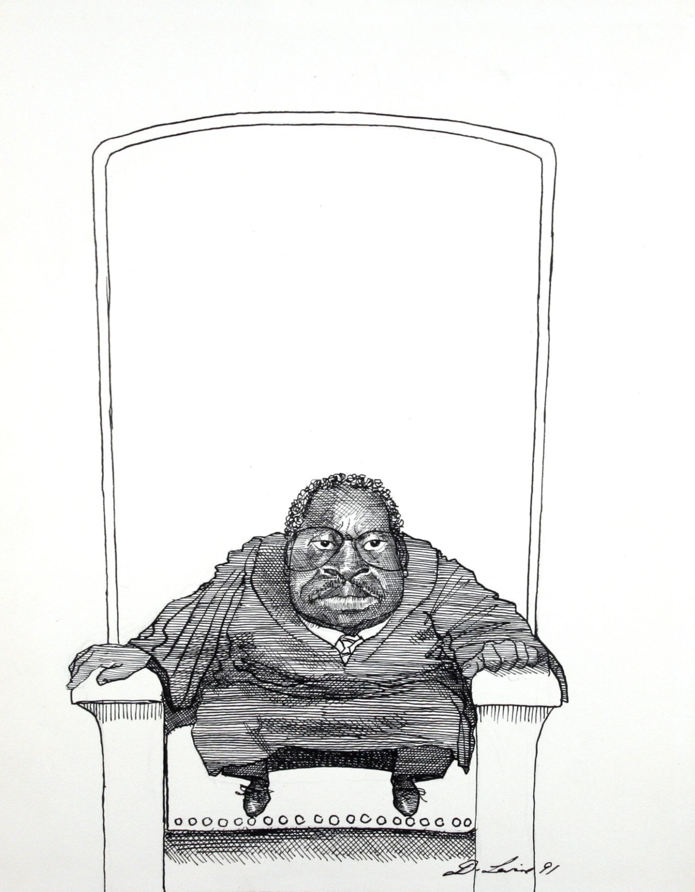 David Levine, Clarence Thomas, 1991, ink on paper, 14 x 11 inches