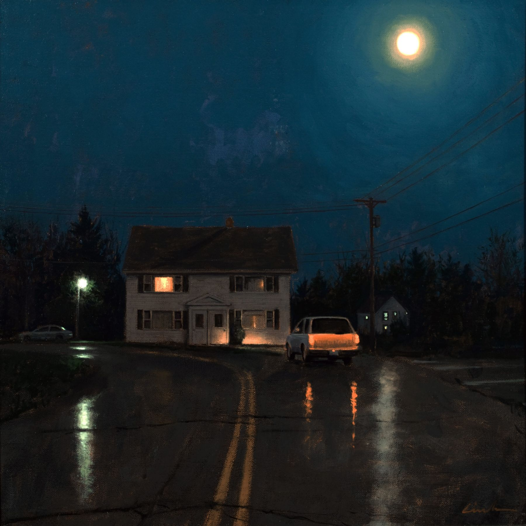 Linden Frederick, Duplex (SOLD), 2007, oil on panel, 12 1/4 x 12 1/4 inches