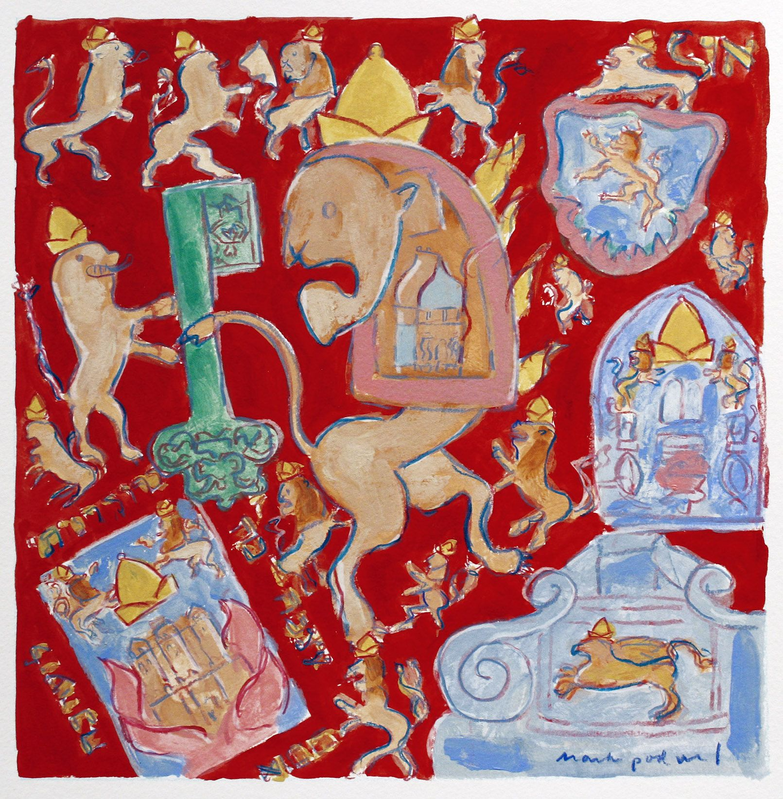 Mark Podwal, Lions of Judah (SOLD), 2008, acrylic, gouache and colored pencil on paper, 12 x 12 inches