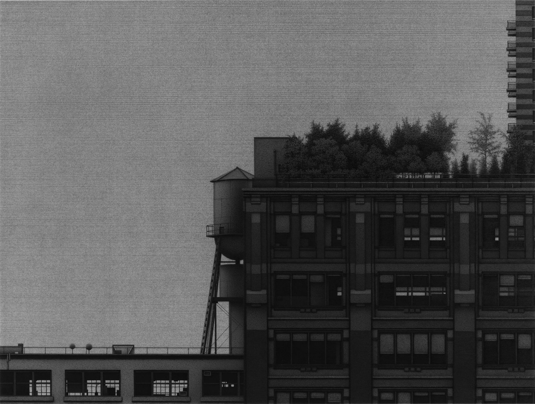 anthony mitri, Plein Air, Manhattan, 2013, charcoal on paper, 22 x 29 1/4 inches