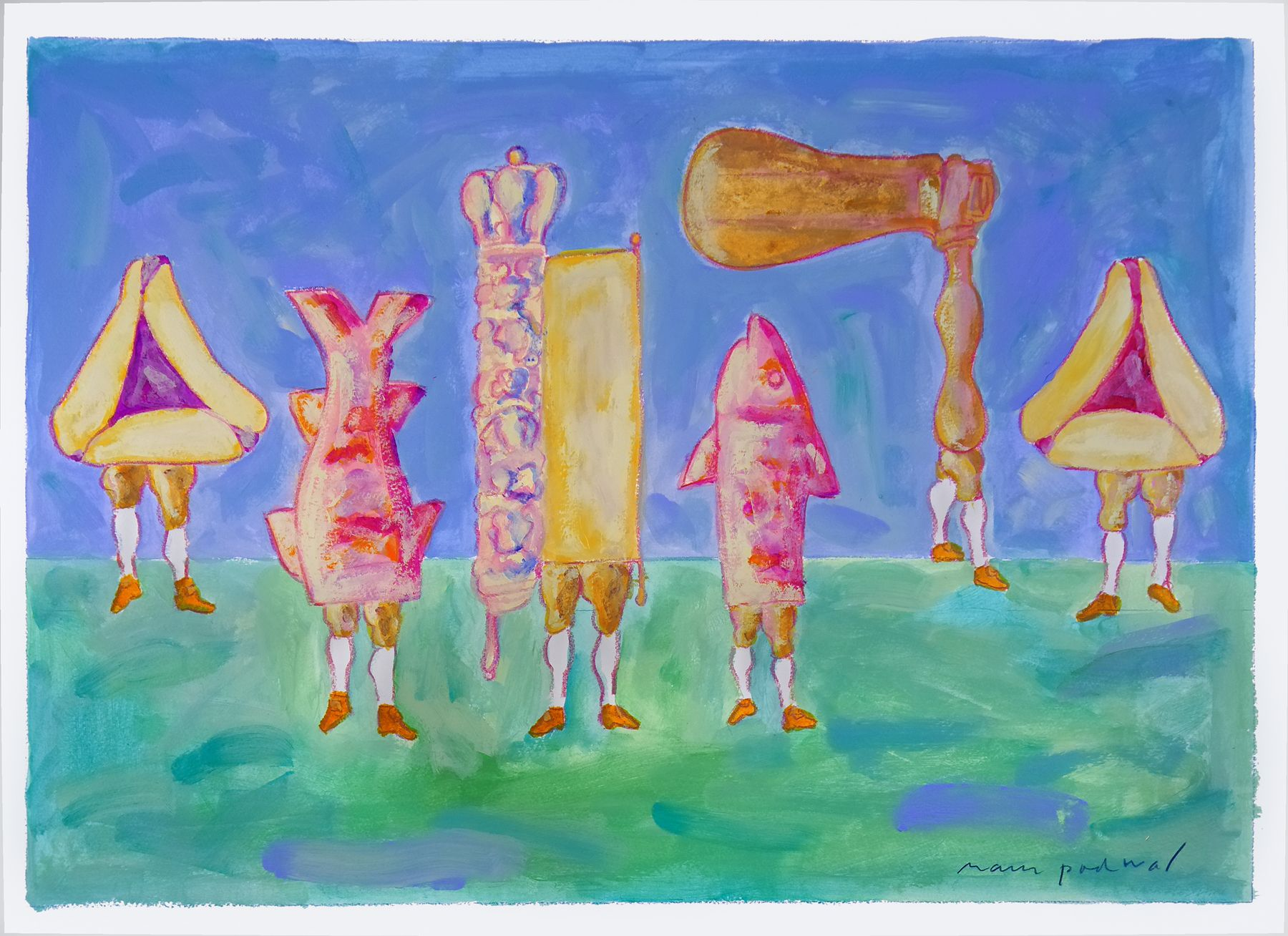 Mark Podwal, Six Purim Costumes (SOLD), 2007, acrylic, gouache, colored pencil on paper, 22 1/8 x 29 7/8 inches