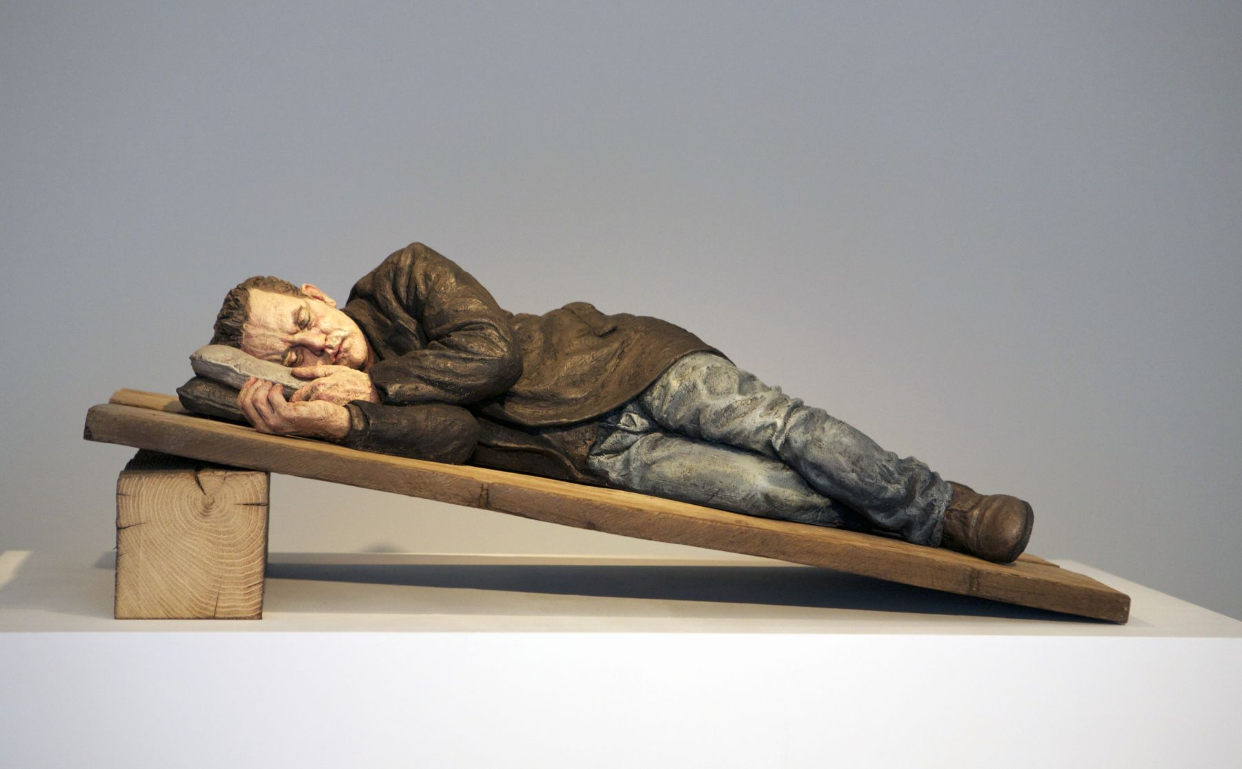 sean henry, Ramp, 2012, bronze, oil paint, wood, 13 x 35 x 17 inches, Edition of 6