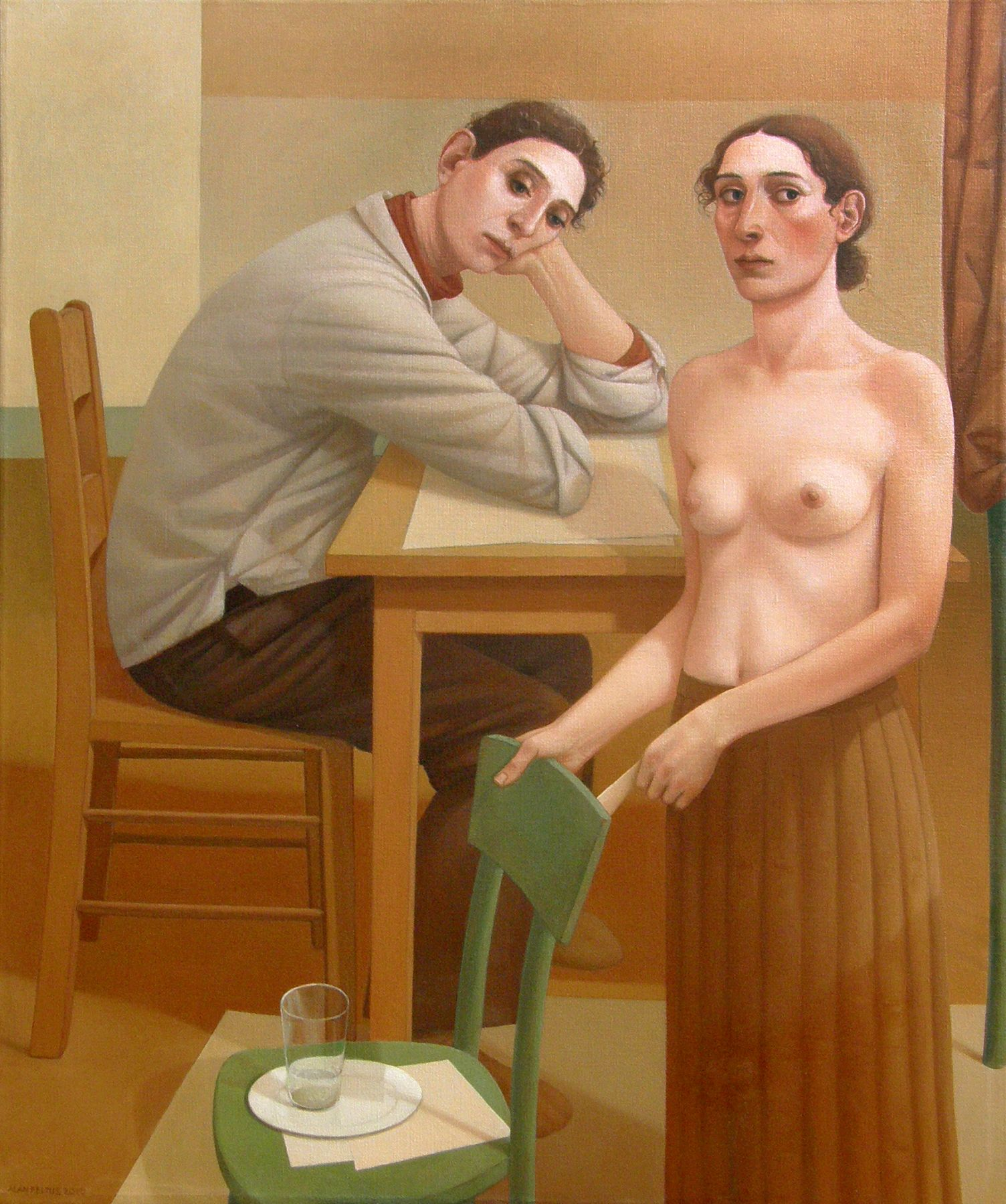 alan feltus, The Young Man and the Flower Lady, 2010, oil on linen, 48 x 39 7/8 inches