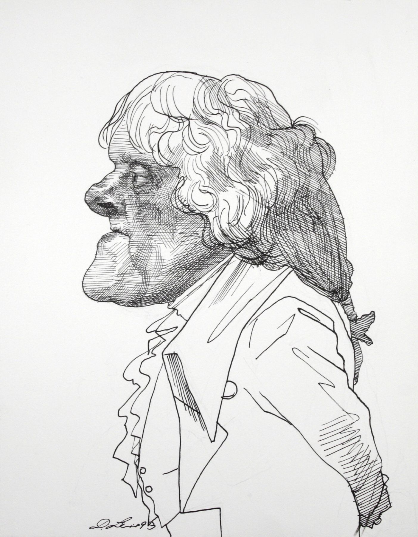 David Levine, Thomas Jefferson, 1993, ink on paper, 14 x 11 inches