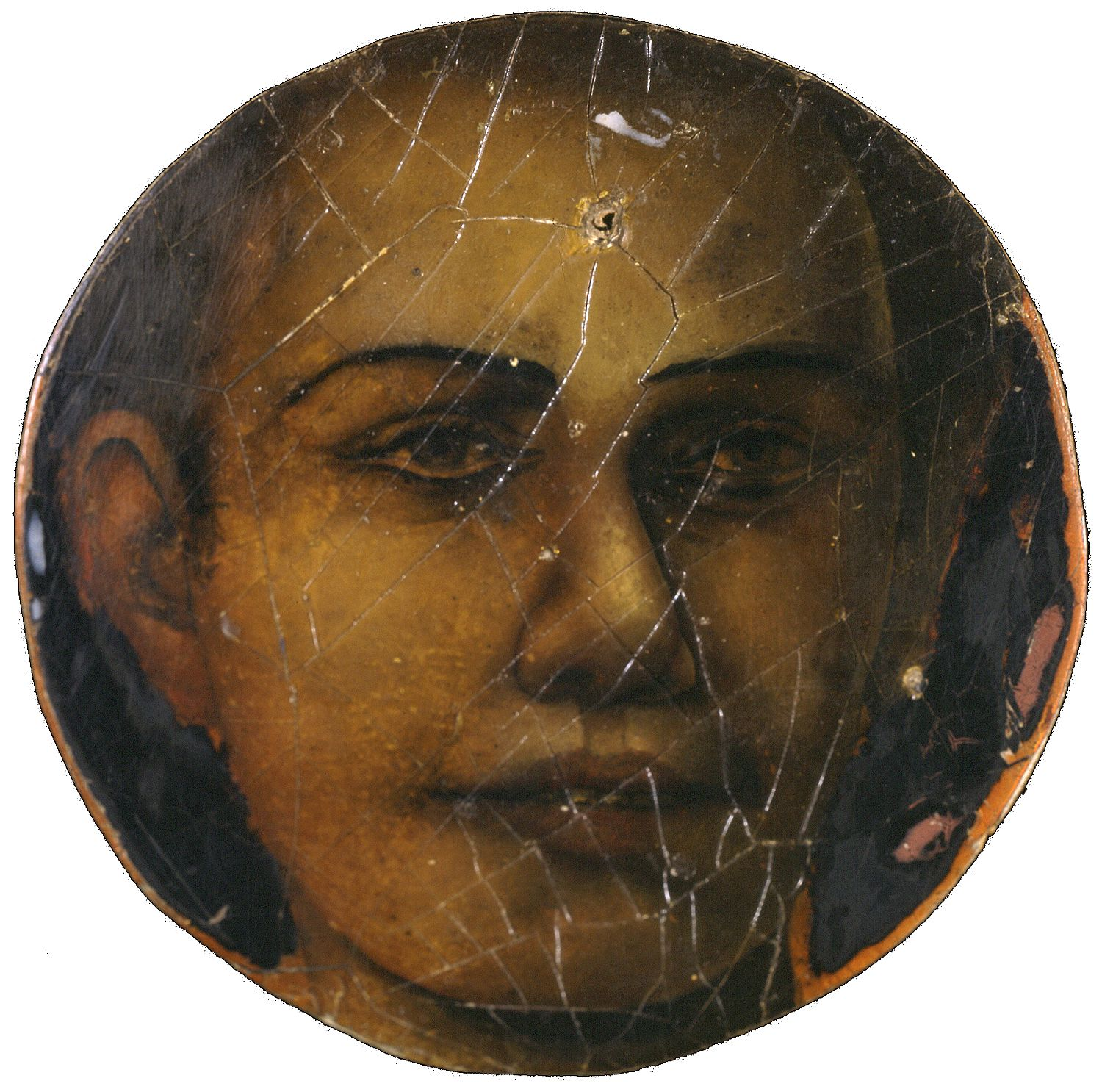 Gregory Gillespie, Untitled (face of boy in circle) (SOLD), c. 1968, mixed media, 10 x 10 inches