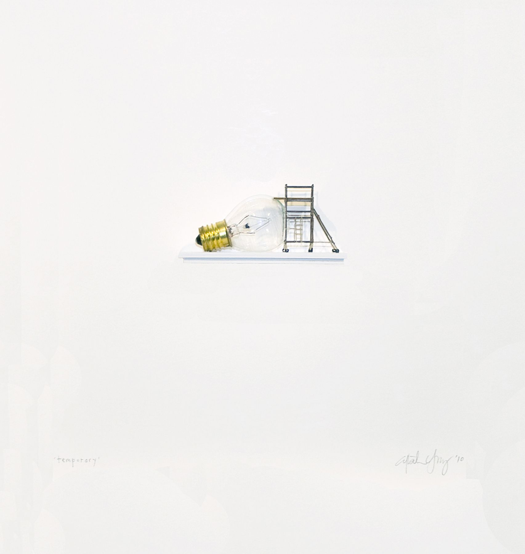 Cybèle Young, Temporary, 2010, Japanese paper and found object, 14 1/8 x 14 1/8 inches