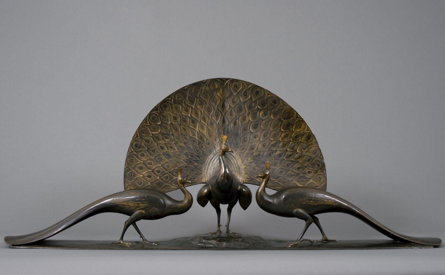 Gaston Lachaise, Peacocks, 1922, bronze, 22 1/2 x 53 x 7 1/2 inches