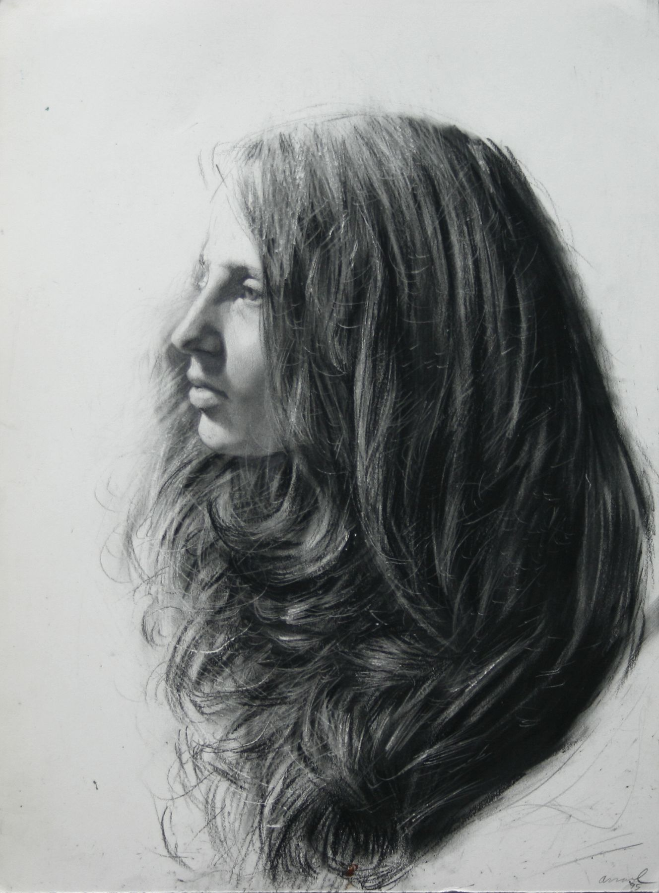 Steven Assael, Girl in Profile (SOLD), 1995, crayon and graphite on paper, 14 1/8 x 10 3/8 inches