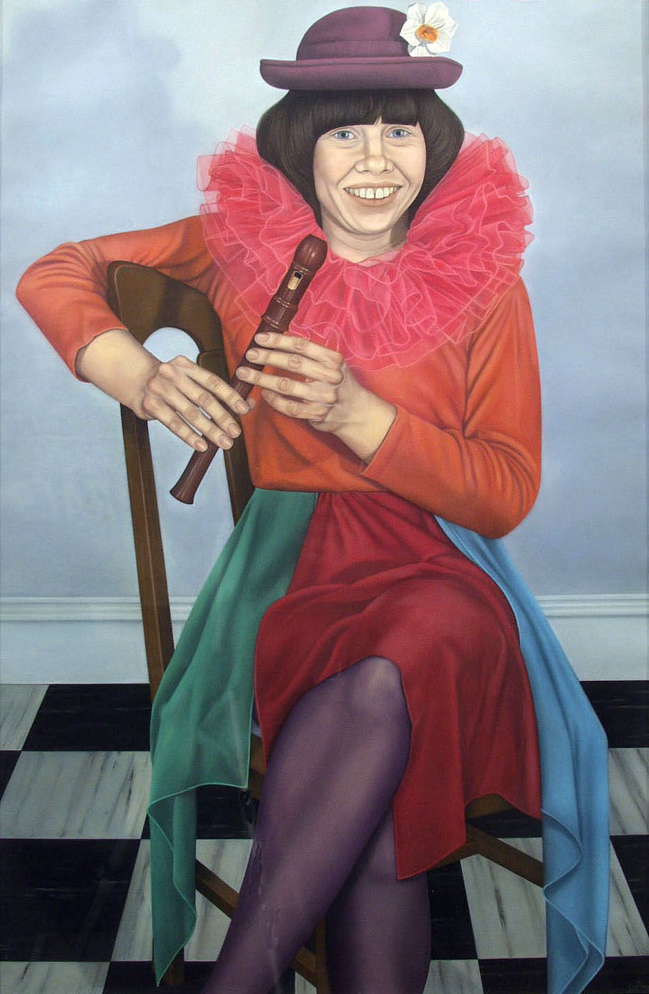 Jane Lund, Self-Portrait as an Entertainer (SOLD), 1978, pastel, 36 1/2 x 24 inches