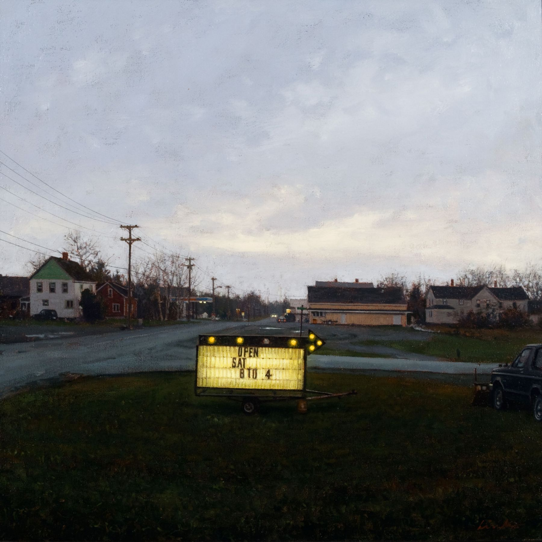 Linden Frederick, Open Saturday (SOLD), 2007, oil on panel, 12 1/4 x 12 1/4 inches
