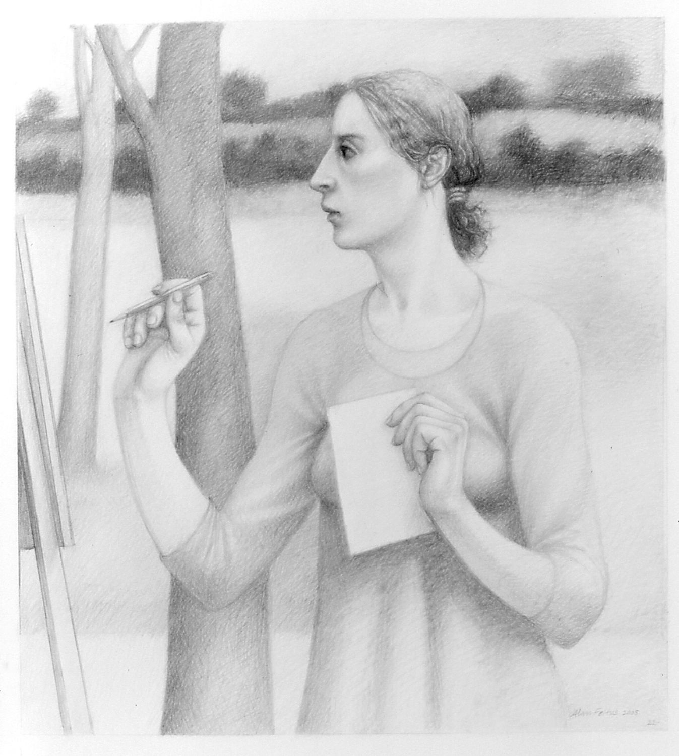 Alan Feltus, Writer in the Trées, 2004, pencil on Strathmore paper, 20 x 18 inches