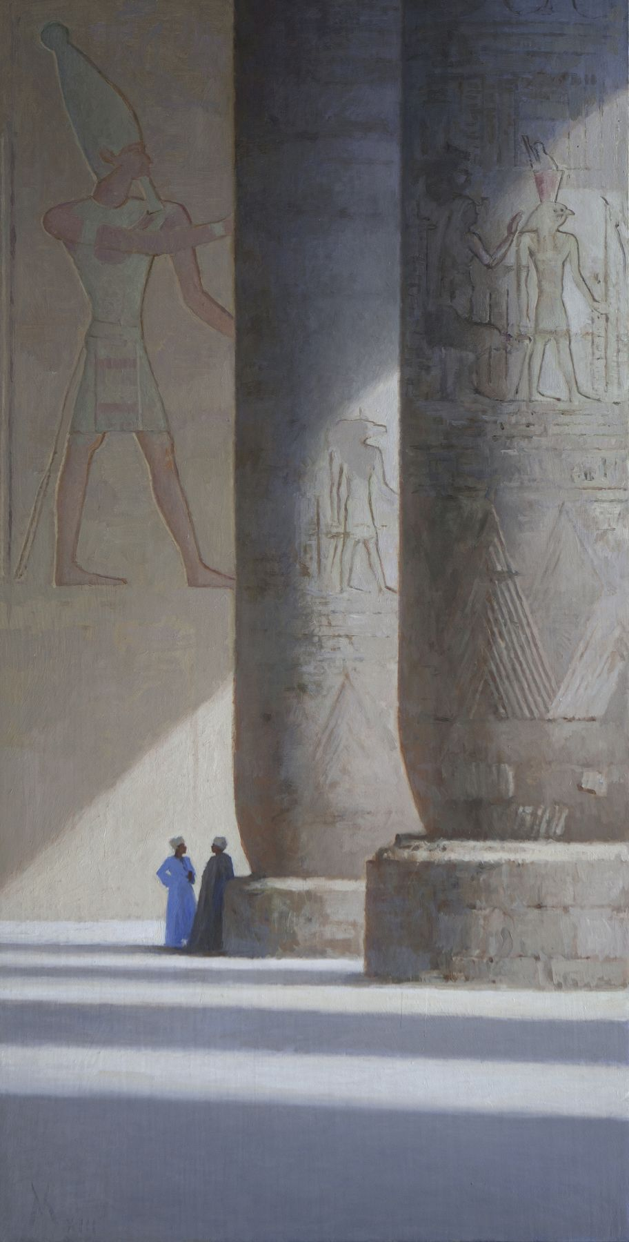guillermo munoz vera, Sunny Day at Edfu Temple, 2013, oil on canvas mounted on panel, 39 3/8 x 19 5/8 inches