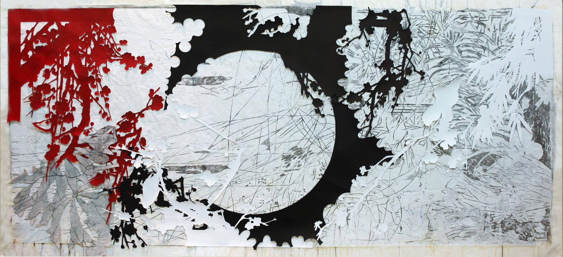 Judy Pfaff, Year of the Dog #6, 2009, woodblock, collage, hand painting, 38 1/2 x 86 1/2 inches  Edition 3/12