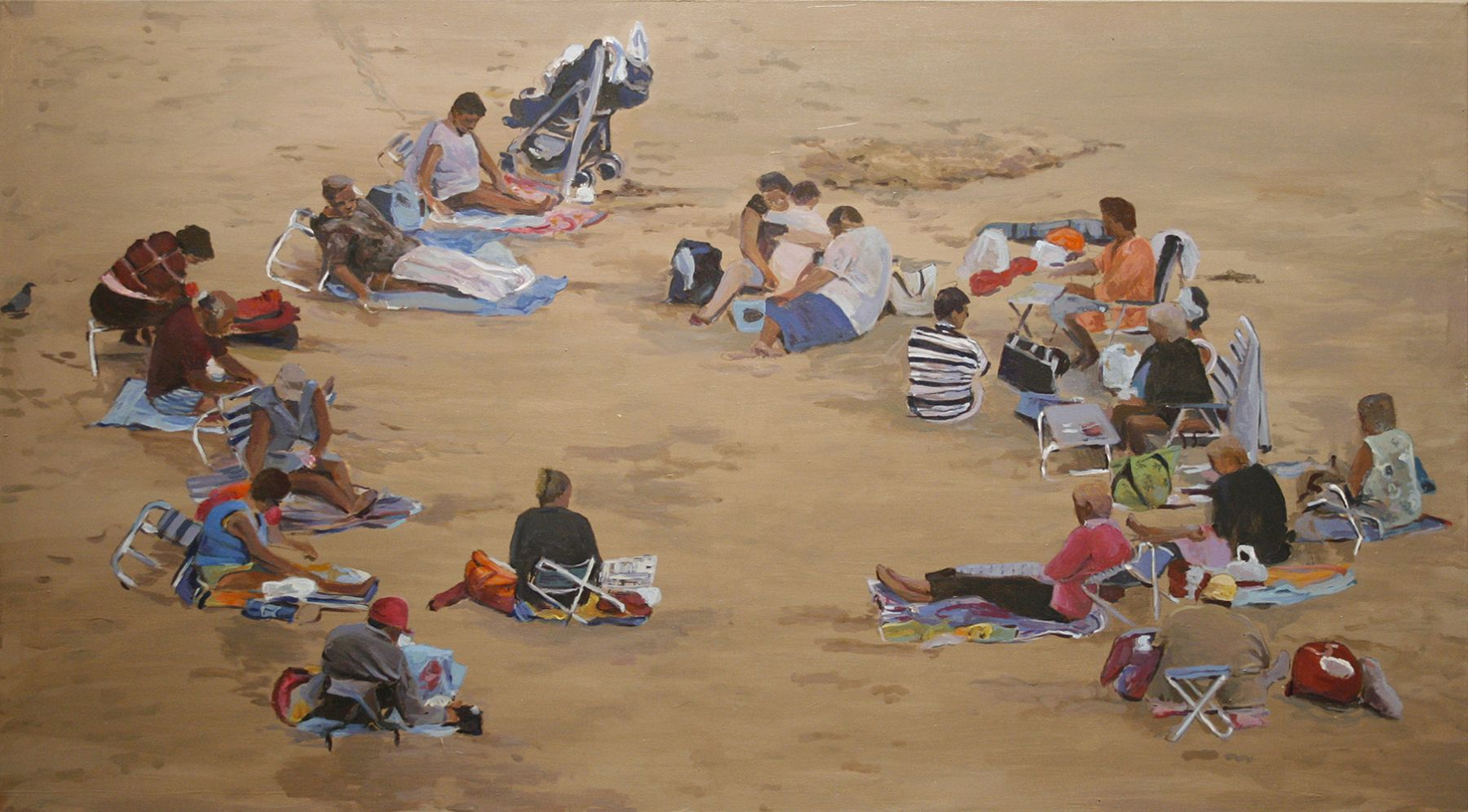 Shoja Azari & Shahram Karimi, Family Playing, 2006, Video painting - acrylic on canvas, 29 x 52 inches