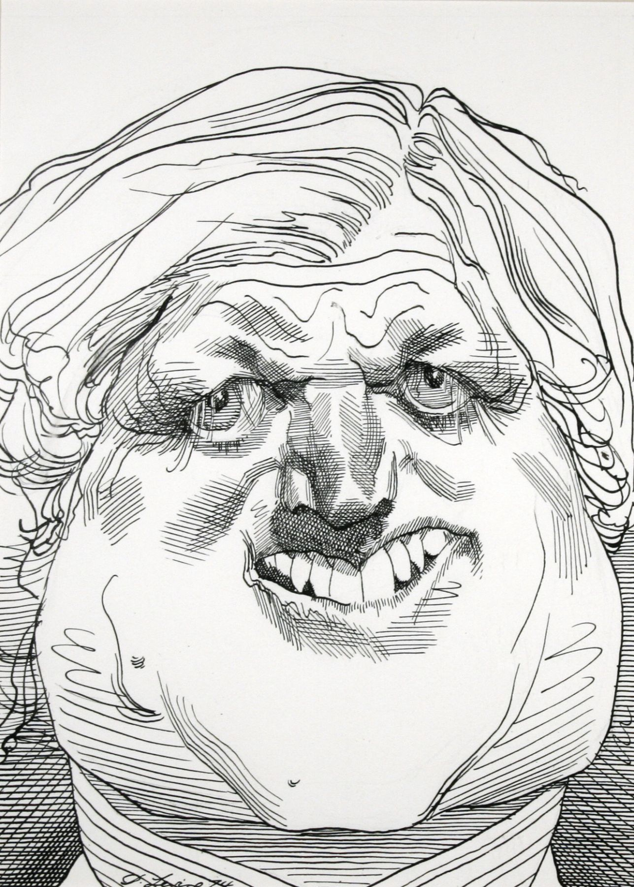David Levine, Edward Kennedy, 1974, graphite and ink on paper, 14 x 11 inches