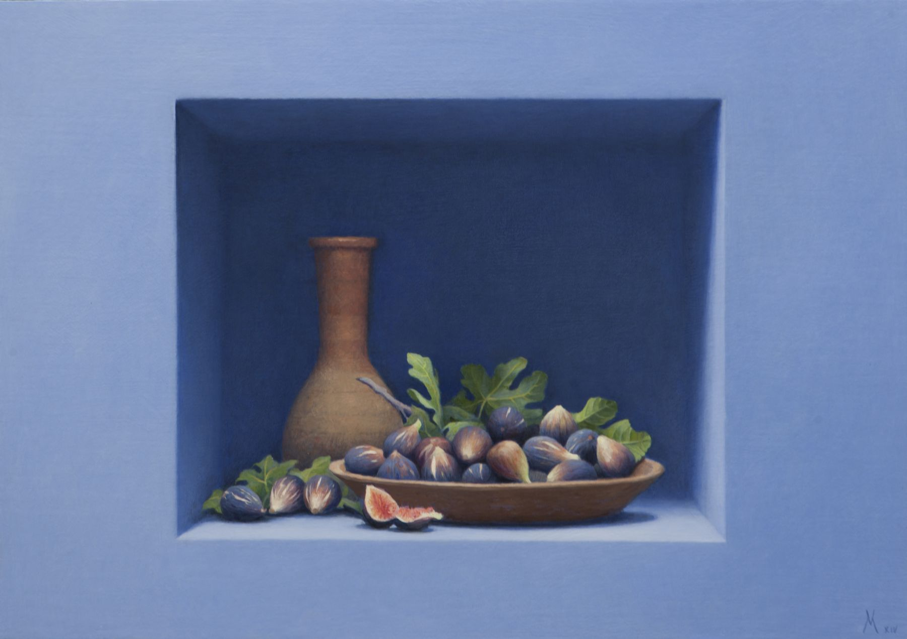 Guillermo Muñoz Vera, Figs with Vessel (SOLD), 2014, oil on canvas mounted on panel, 27 1/2 x 39 1/4 inches