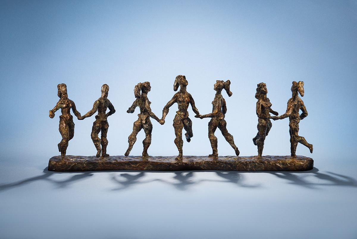 Chaim Gross,  Seven Circus Girls, 1960, bronze, 10 1/2 x 28 x 7 inches