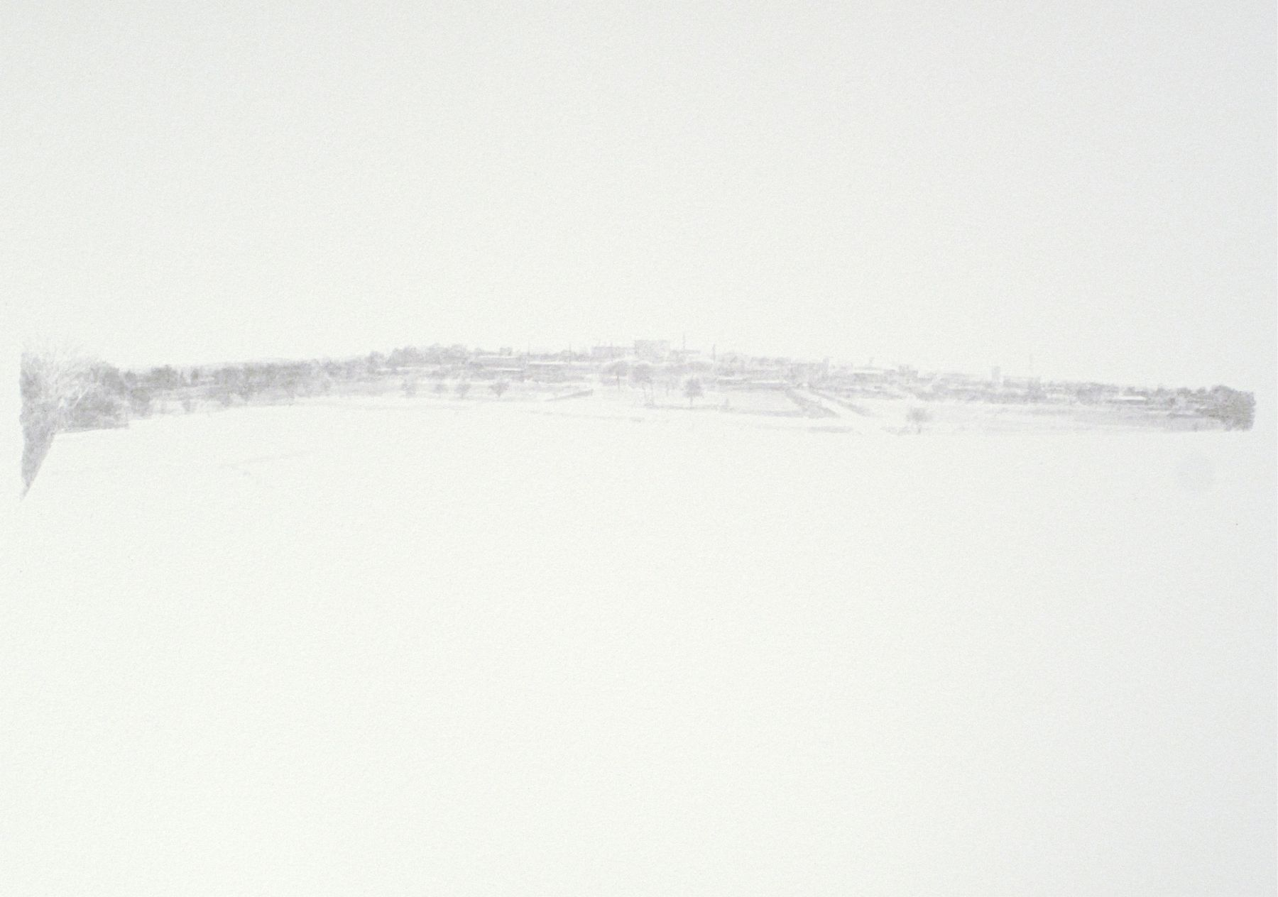 Robert Bauer, Untitled Landscape, 2011, brush and ink on paper, 11 x 15 inches
