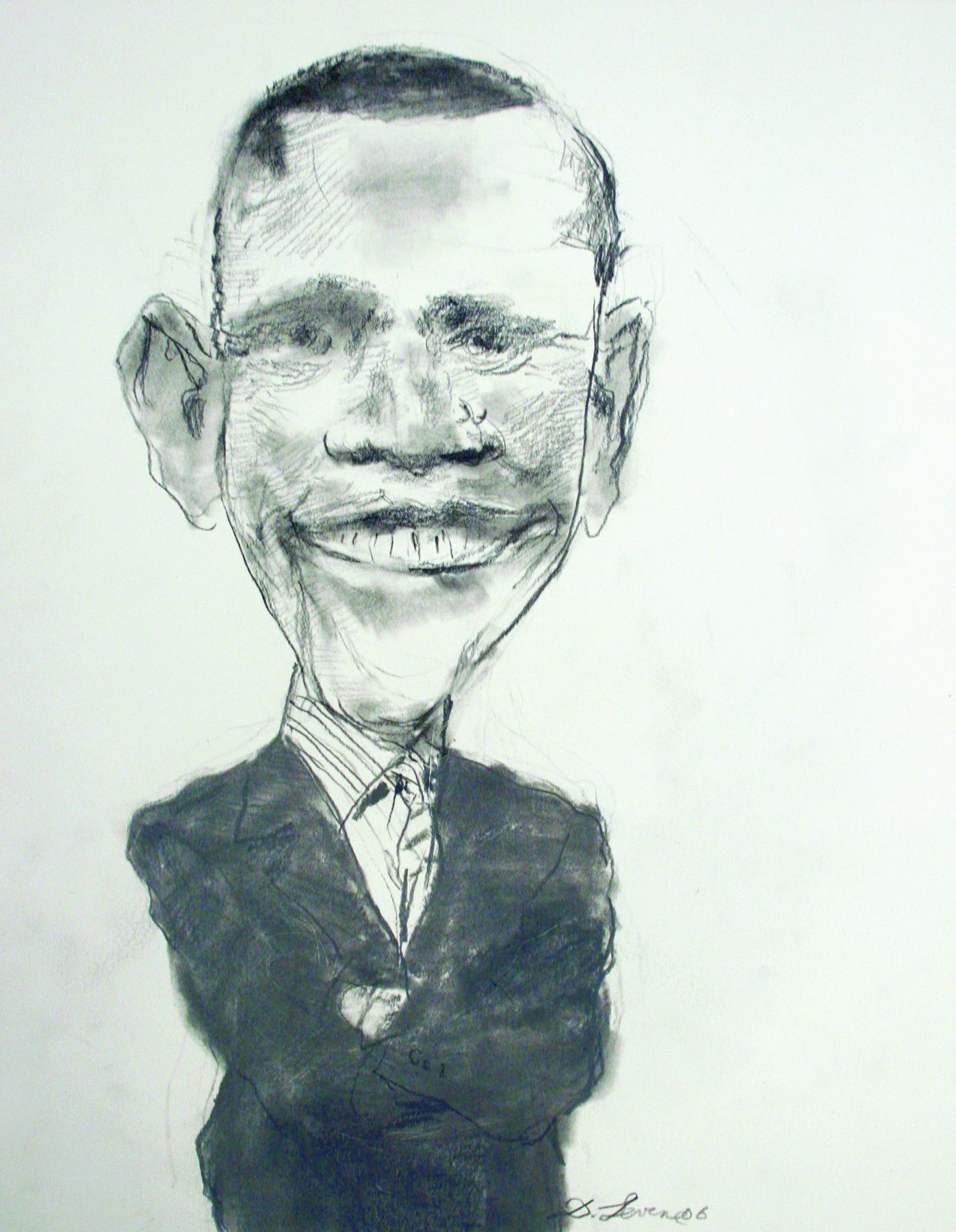 David Levine, Senator Barack Obama (SOLD), 2006, graphite on paper, 13 3/4 x 11 inches