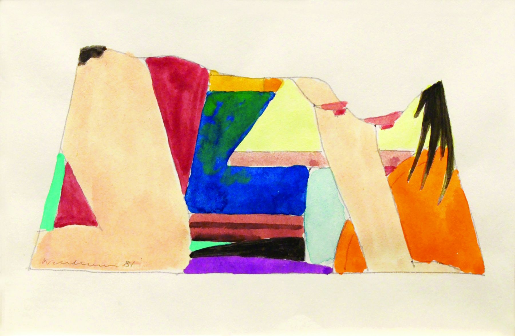 Tom Wesselmann, Study for Drop Out, 1981, liquitex on paper, 3 1/2 x 5 1/4 inches