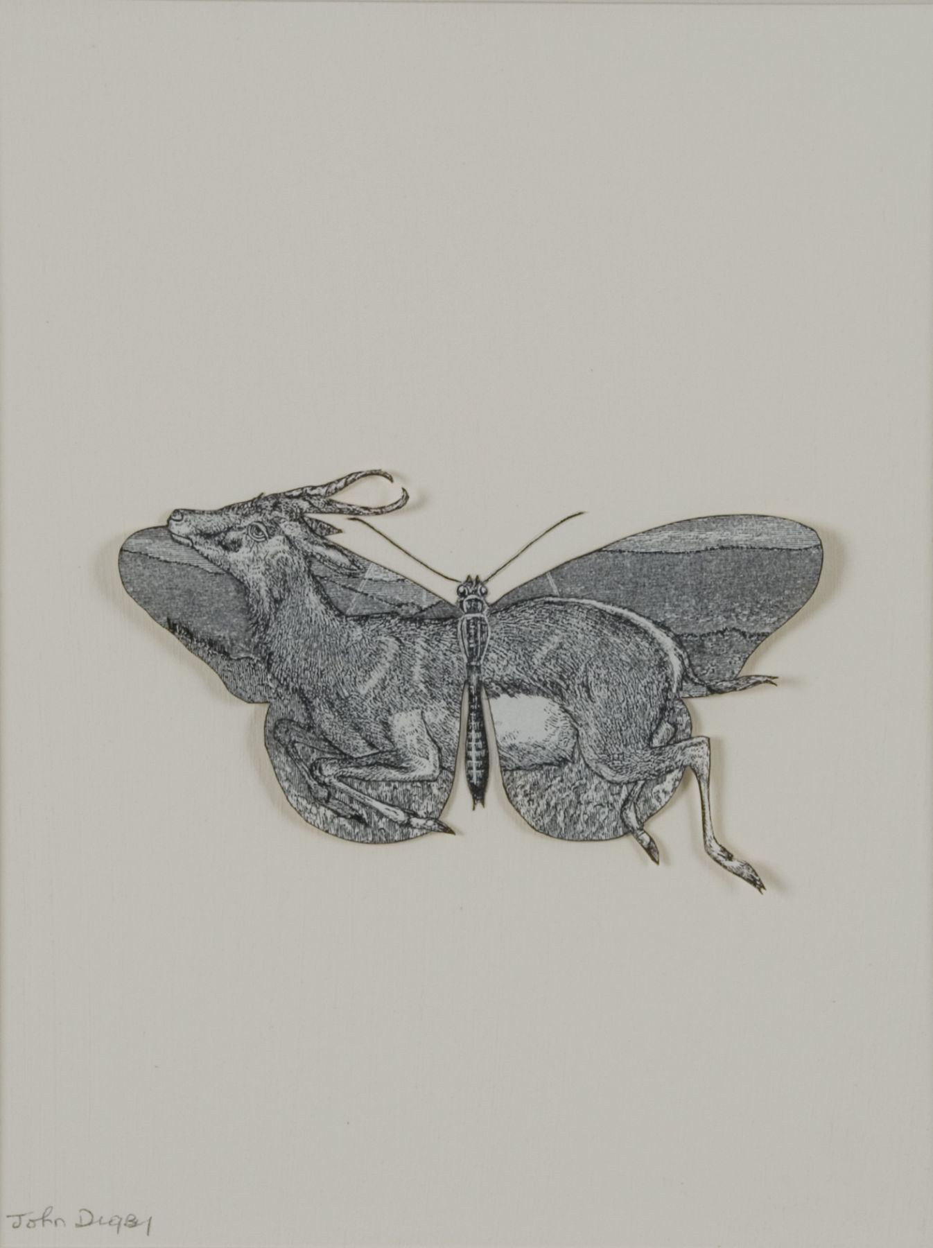 John Digby, Butterfly with Gazelle, 1987, collage with pen and ink, 16 x 12 inches