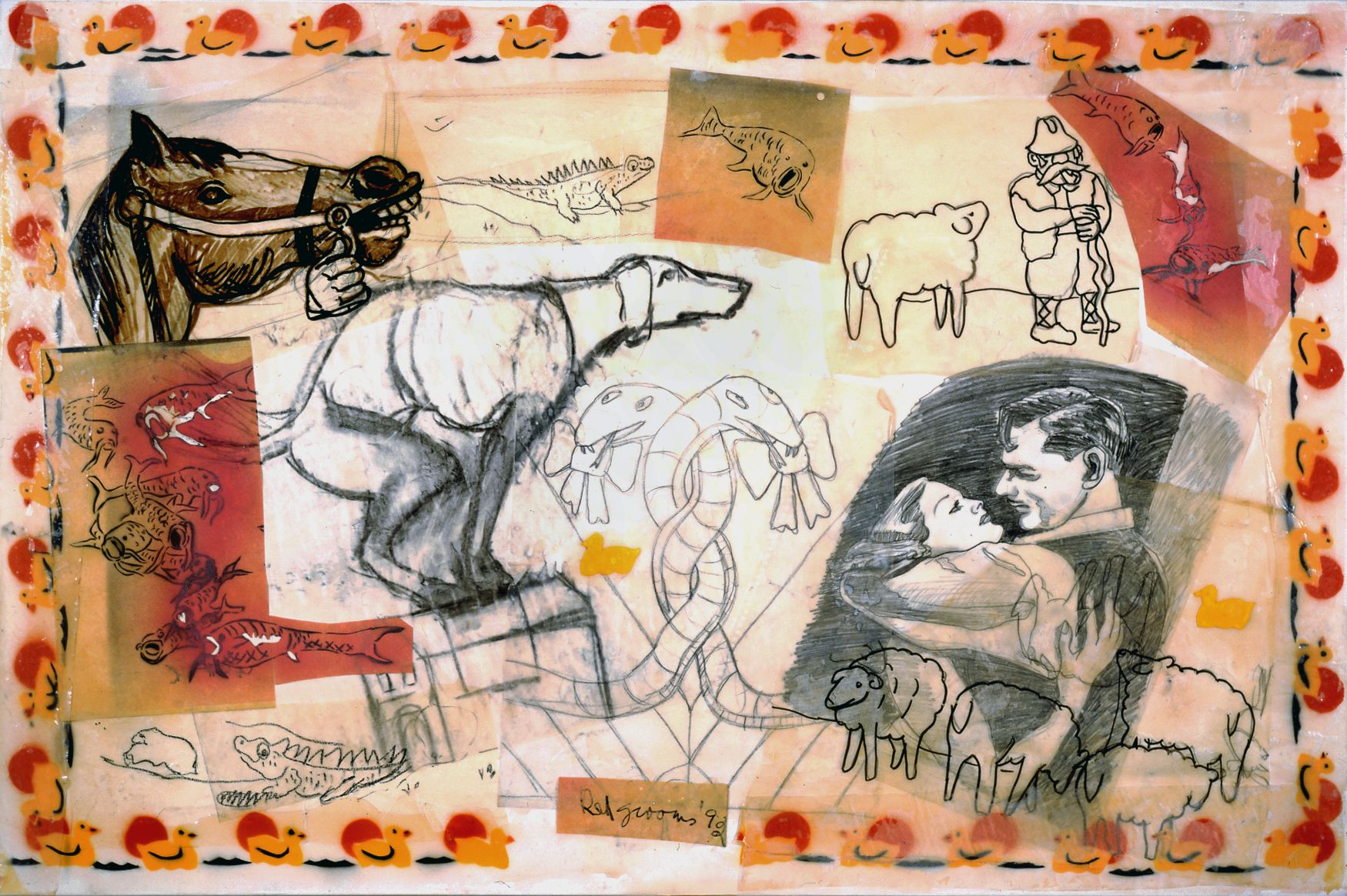 Red Grooms, Animal Instincts, 1992, collage and mixed media, 30 x 46 inches