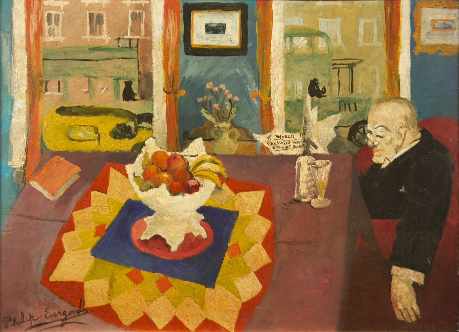 philip evergood, Untitled (Interior with Man at Table) [SOLD], c. 1932, oil on panel, 11 1/2 x 15 3/4 inches