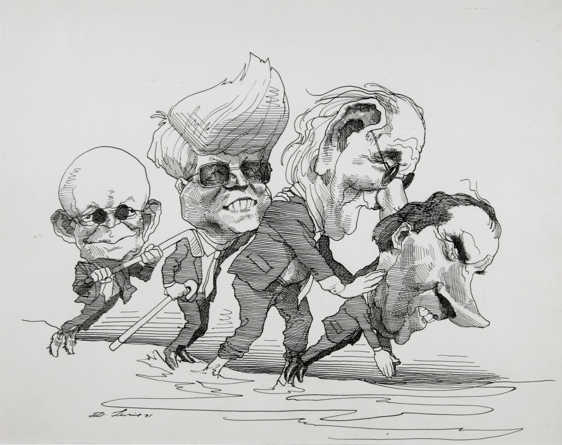 David Levine, The Blind Leading the Blind, 1971, ink on paper, 11 x 13 3/4 inches
