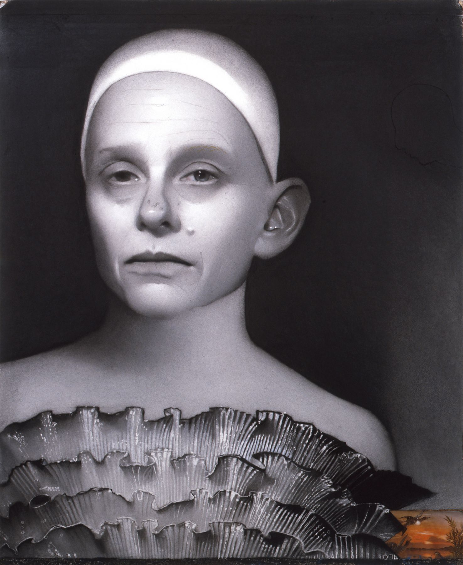 Susan Hauptman, Self Portrait (with 3D postcard) (SOLD), 2009, charcoal and 3D postcard on paper, 37 x 30 inches