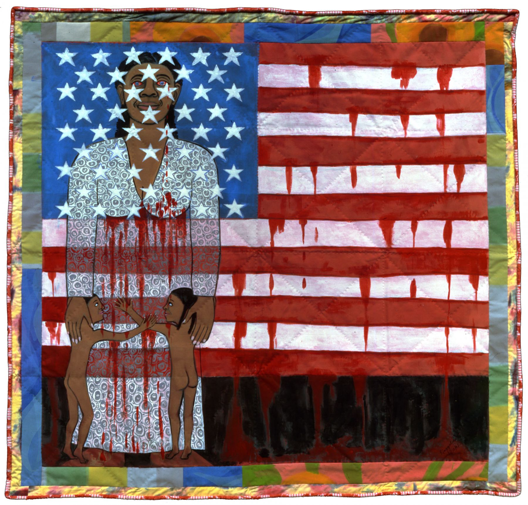 Faith Ringgold, The Flag is Bleeding #2 (The American Collection #6), (SOLD), 1997, acrylic on canvas with painted and pieced border, 79 x 76 inches