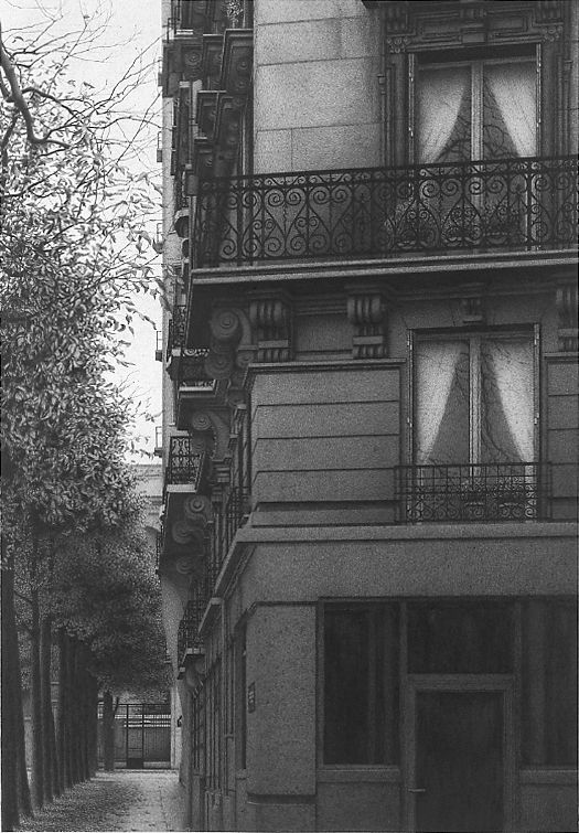 Anthony Mitri Early Morning, Paris, France (SOLD), 2006, charcoal on paper, 20 3/4 x 14 1/8 inches