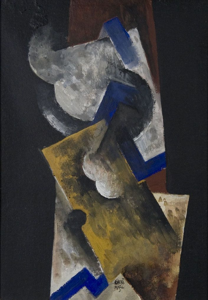 Robert Marc, Cubist Abstraction, oil on paper, 10 x 7 inches