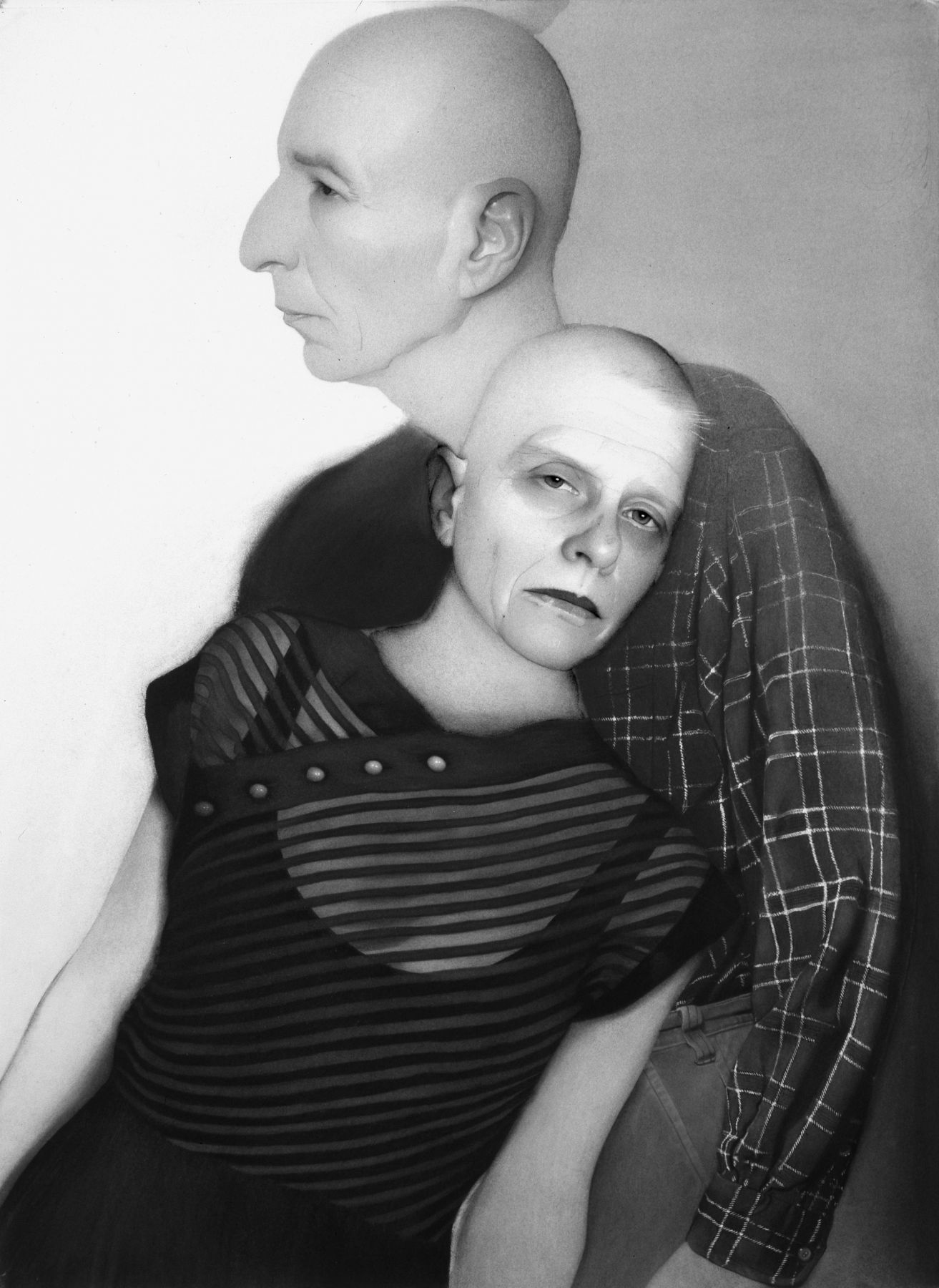 Susan Hauptman, Self-Portrait (with Leonard), 2006, charcoal on paper, 54 x 40 inches