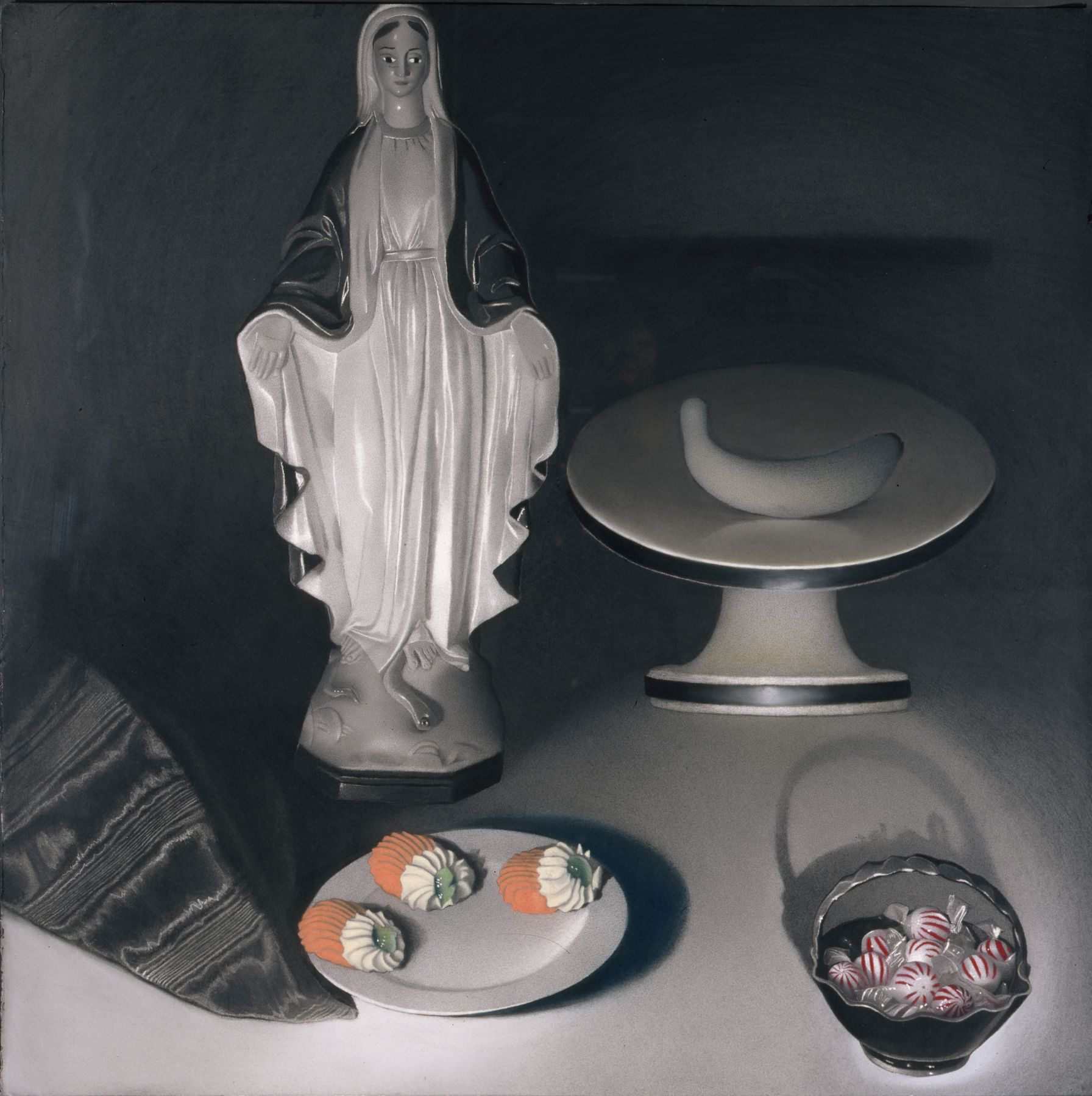 Susan Hauptman, Still Life, 1995, charcoal on paper, 40 x 40 inches