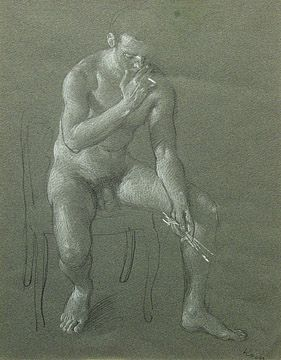 John Koch, Seated Male Nude, c. 1973, pencil heightened by white chalk on paper, 11 3/4 x 9 1/4 inches