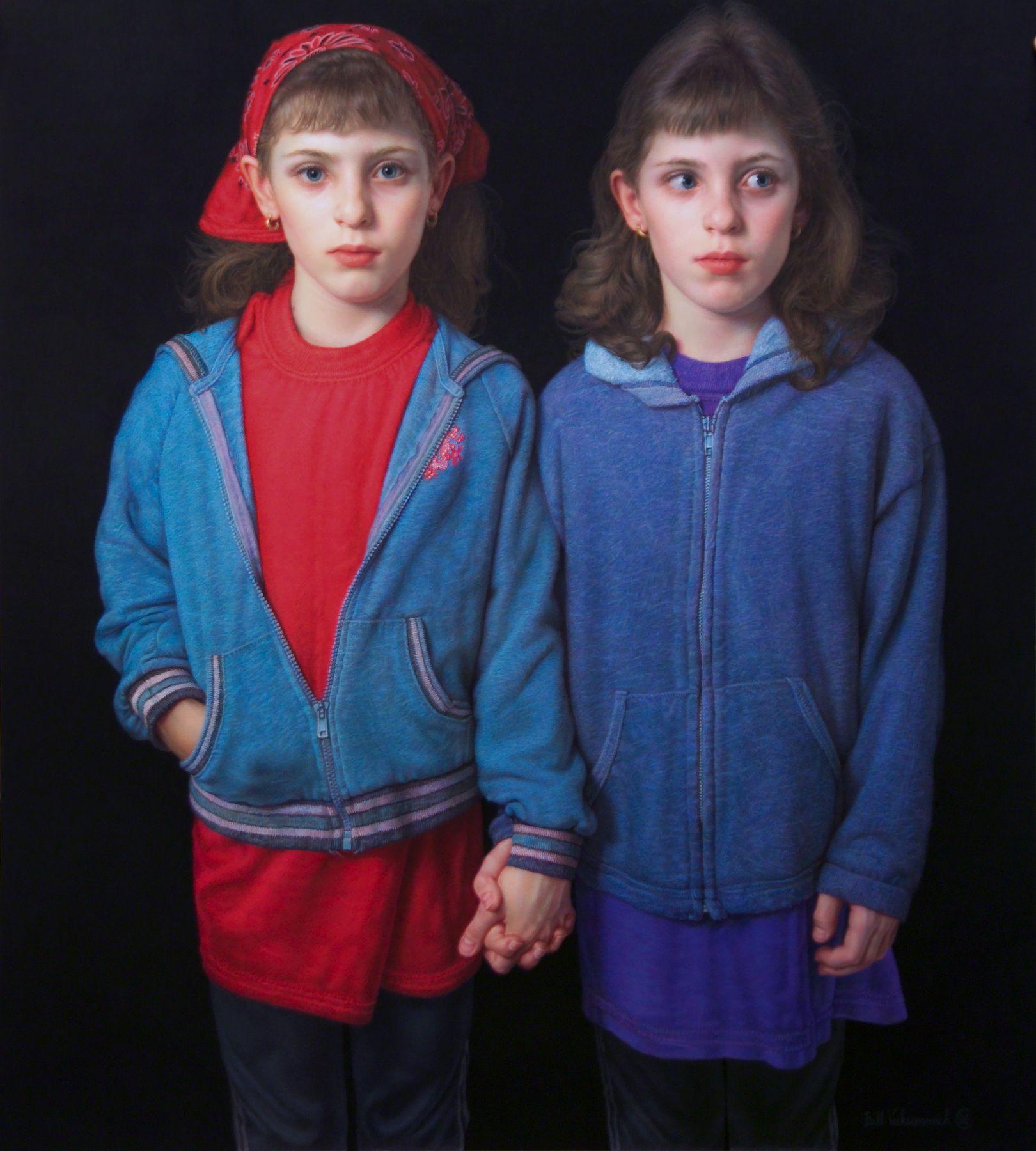 Bill Vuksanovich, Sisters I, 1992-2006, color pencil and nero pencil on paper, 36 1/2 x 33 inches