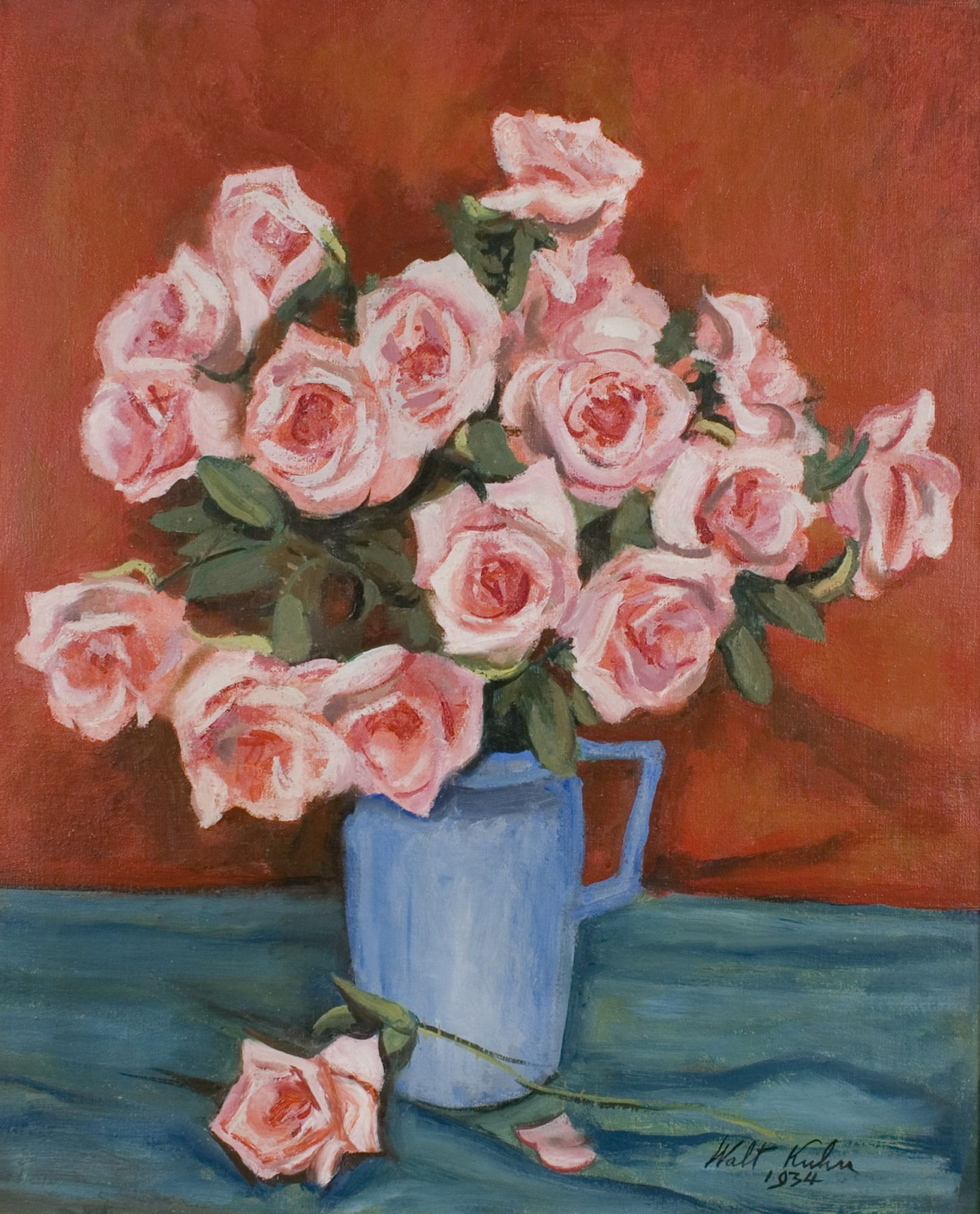 Walt Kuhn, Pink Roses in Blue Pitcher, 1934, oil on canvas, 30 x 25 inches, 38 3/4 x 33 1/4 x 1 5/8 inches